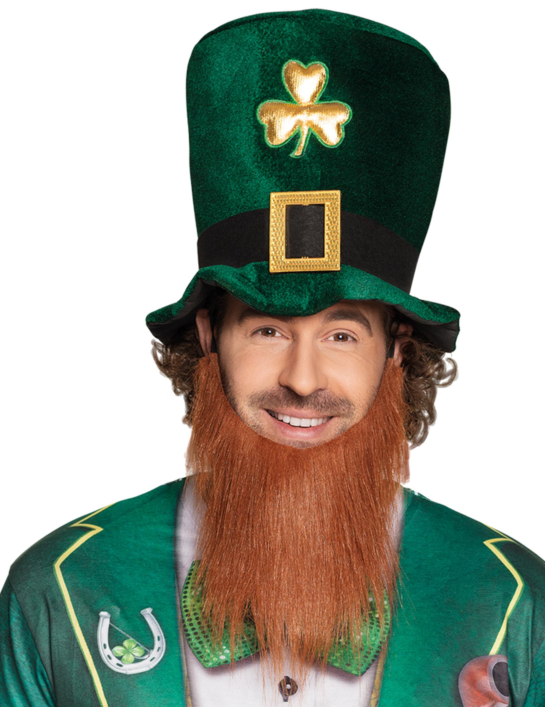 #St. Patrick's Day Zylinder aus Samt mit Bart für Erwachsene#