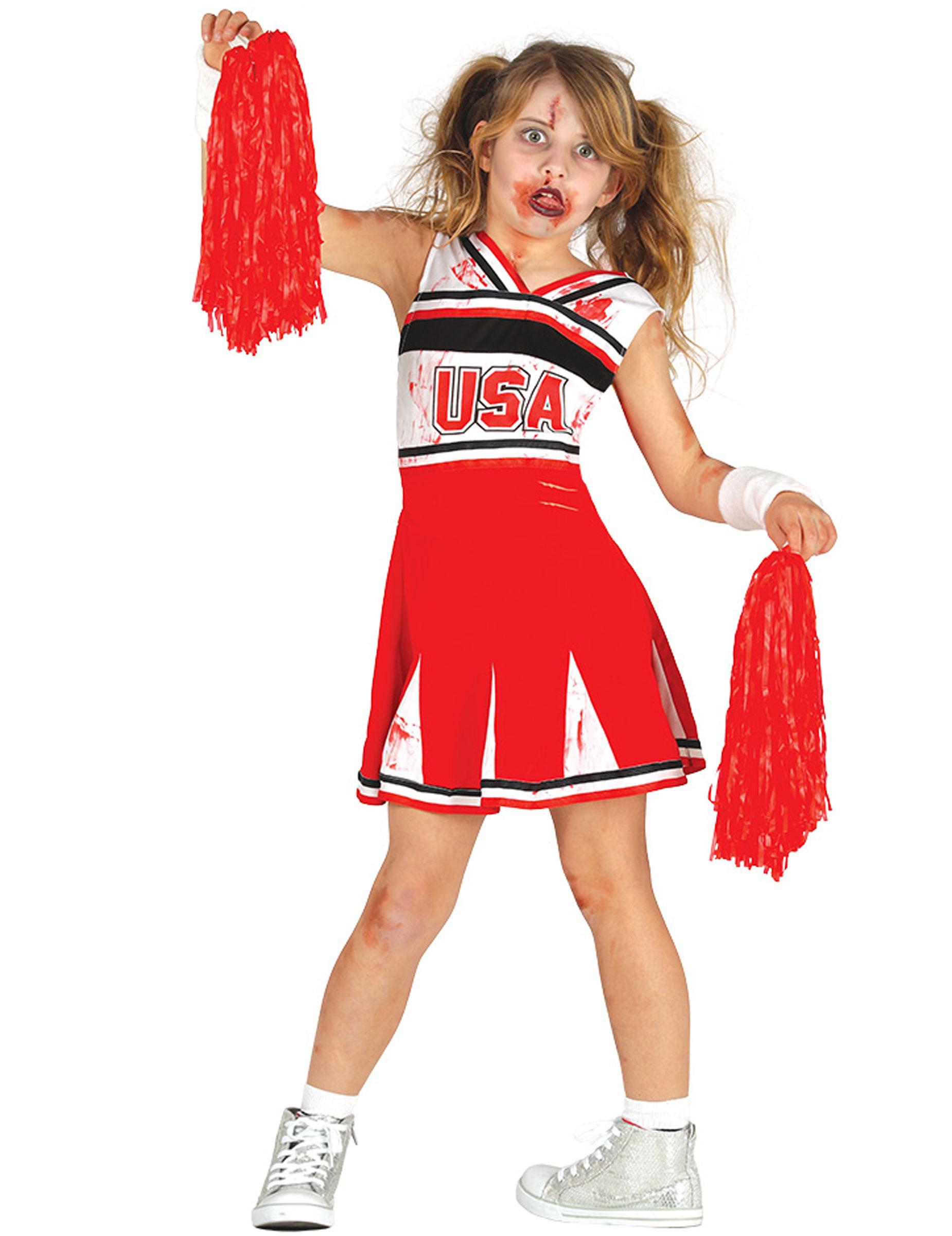 Cheerleader Halloweenkostum Fur Madchen Rot Schwarz Weiss Kostume