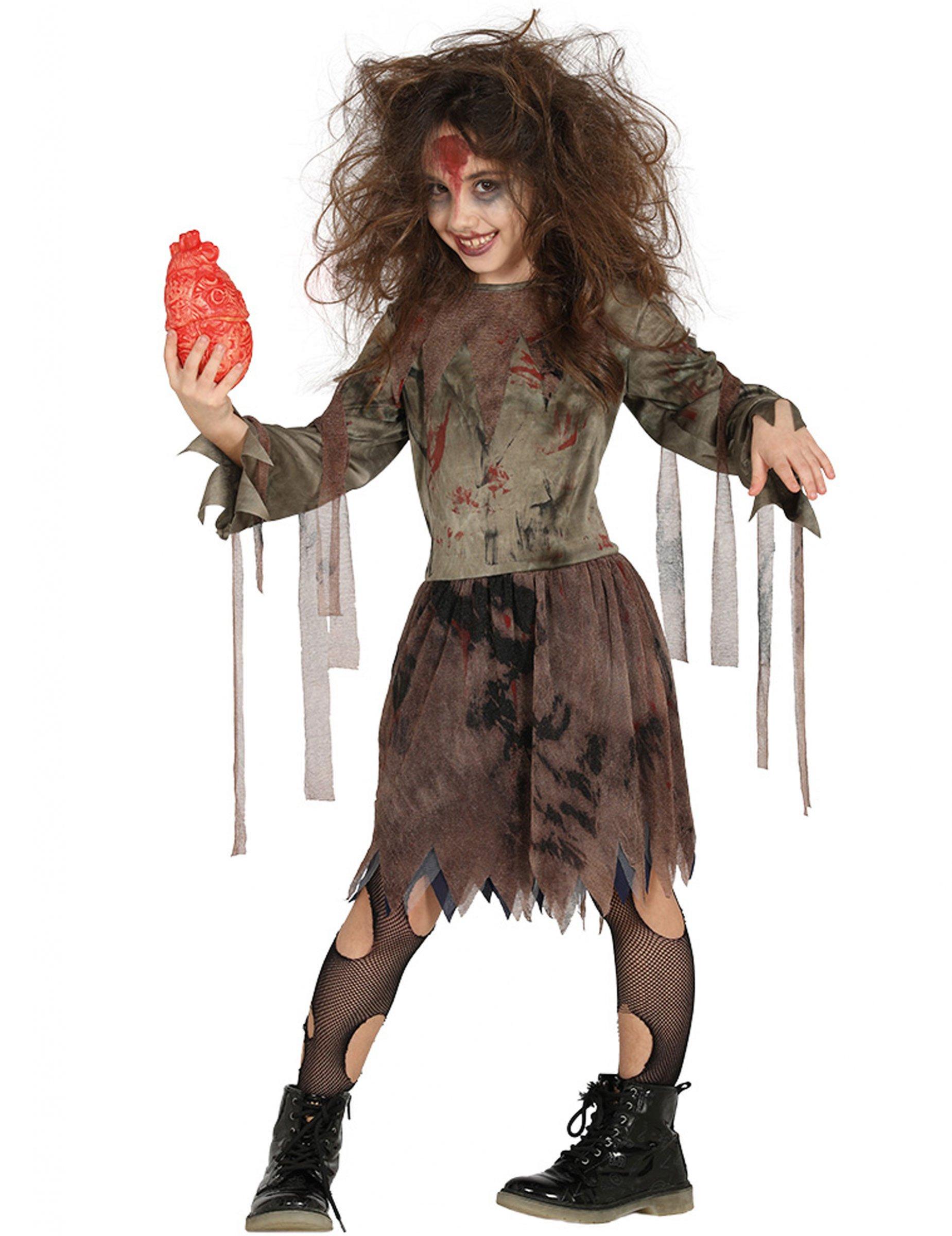 schauriges zombie kost m f r m dchen halloween braun. Black Bedroom Furniture Sets. Home Design Ideas
