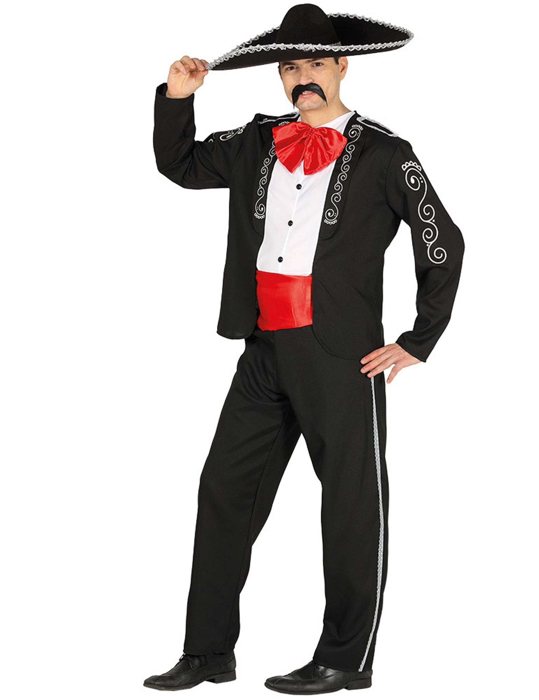 Mexikaner Kostüm für Herren schwarz-rot - L (42-44) 275765