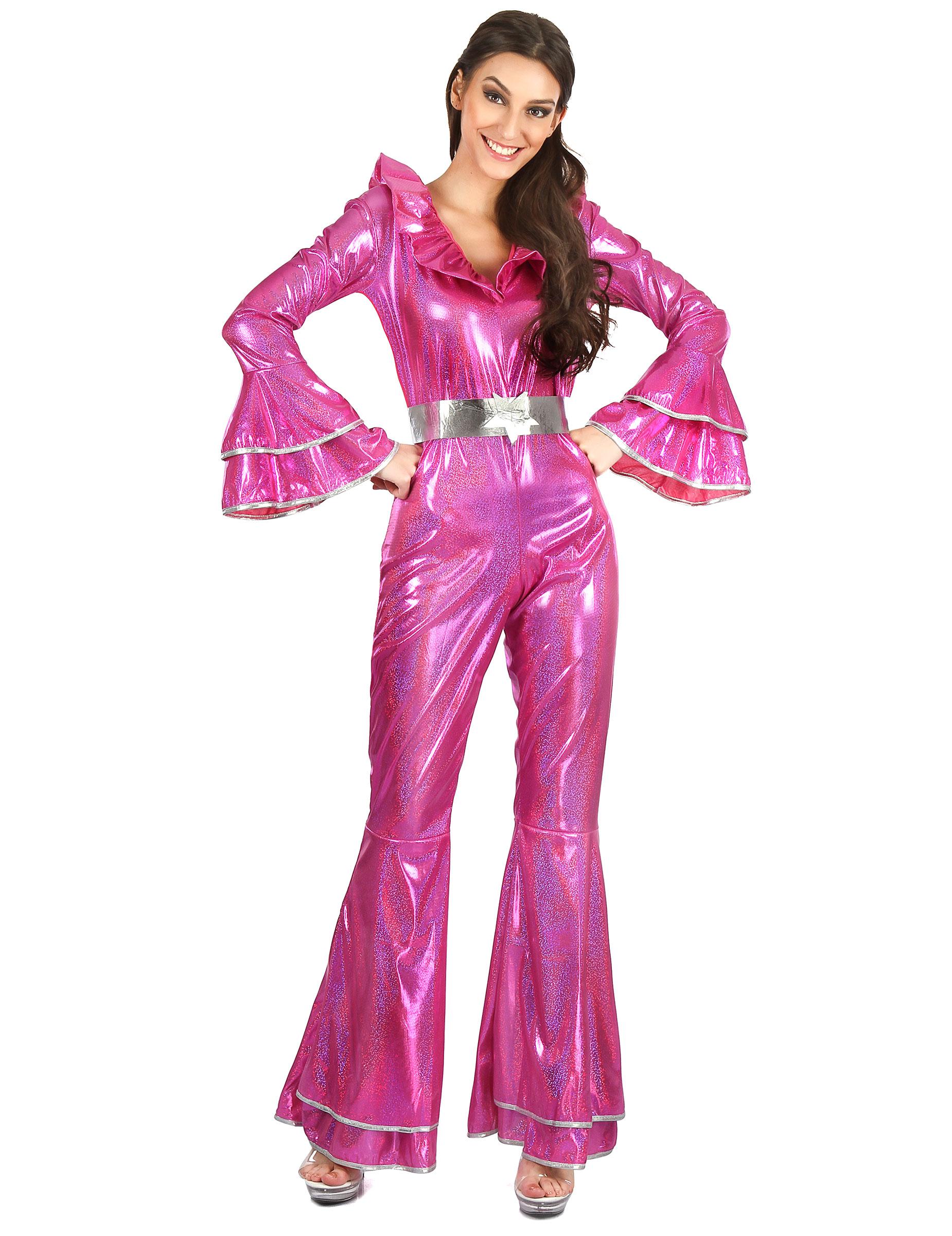 70er jahre disco kost m overall f r damen pink kost me. Black Bedroom Furniture Sets. Home Design Ideas