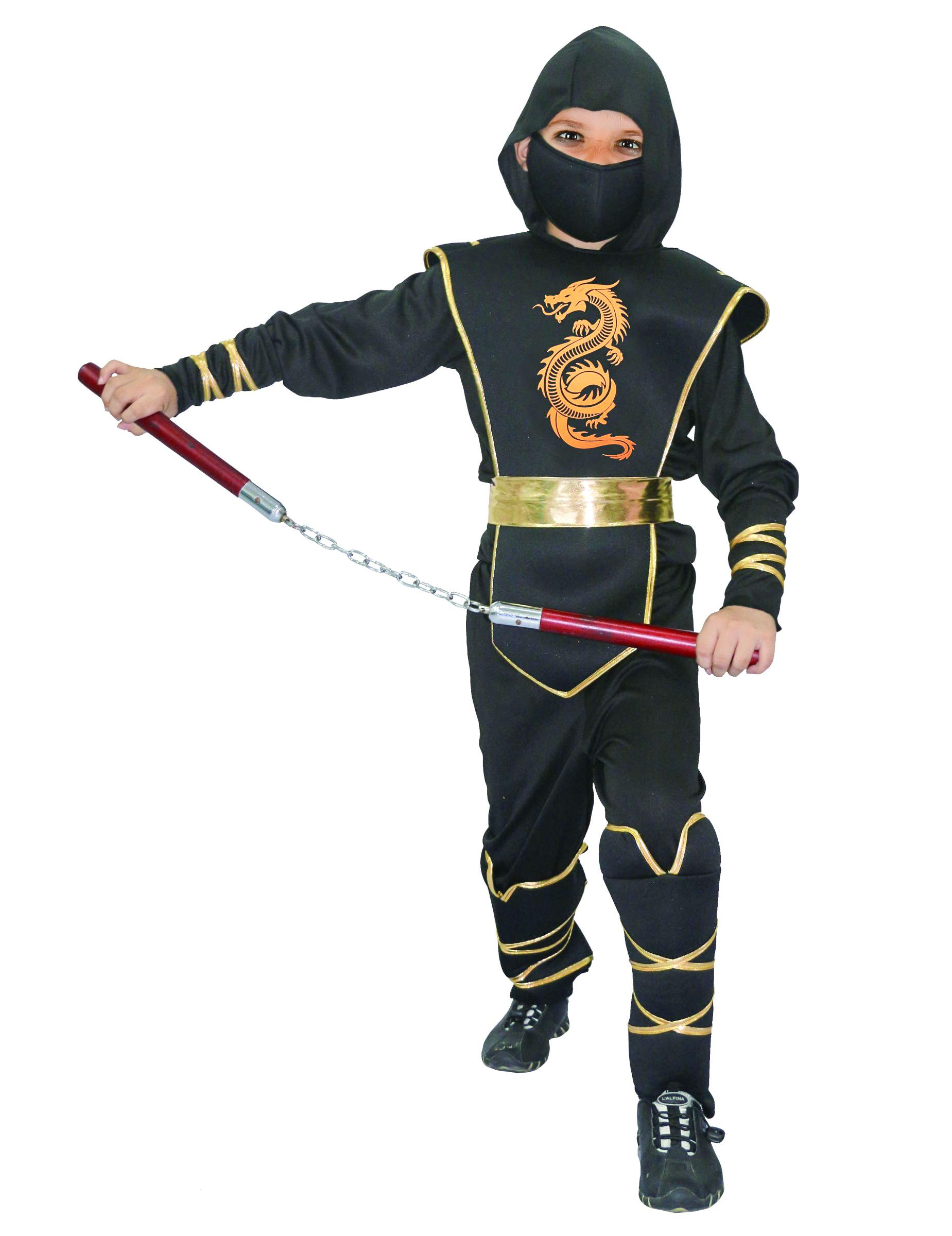 heldenhaftes ninja krieger kost m f r kinder schwarz gold kost me f r kinder und g nstige. Black Bedroom Furniture Sets. Home Design Ideas