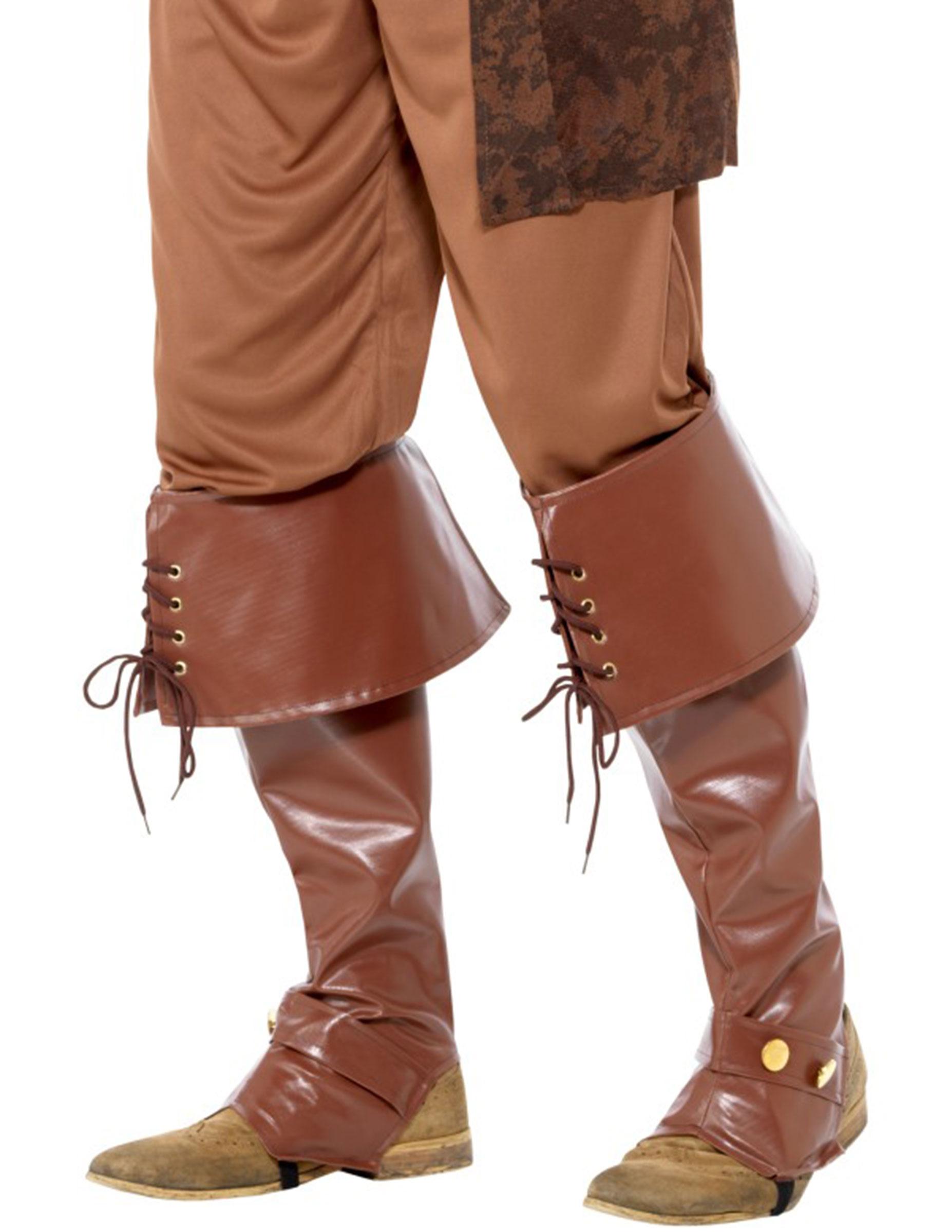 Beinstulpen Lederoptik Piraten Kostümzubehör braun