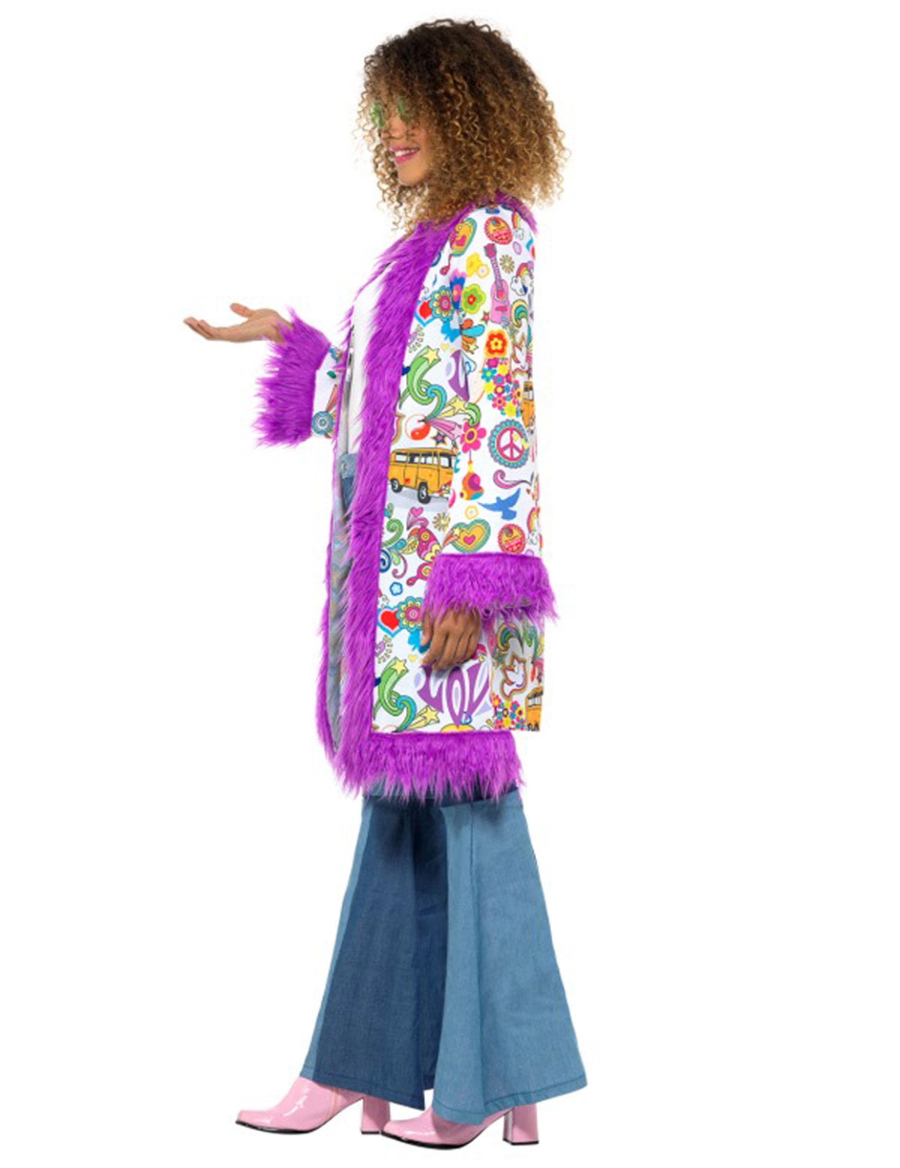 60er jahre hippie mantel f r damen lila kost me f r erwachsene und g nstige faschingskost me. Black Bedroom Furniture Sets. Home Design Ideas