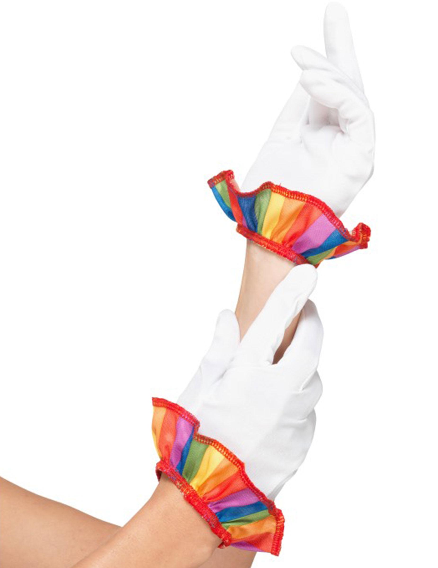 #Clown-Damenhandschuhe Zirkus-Zubehör weiss-bunt#