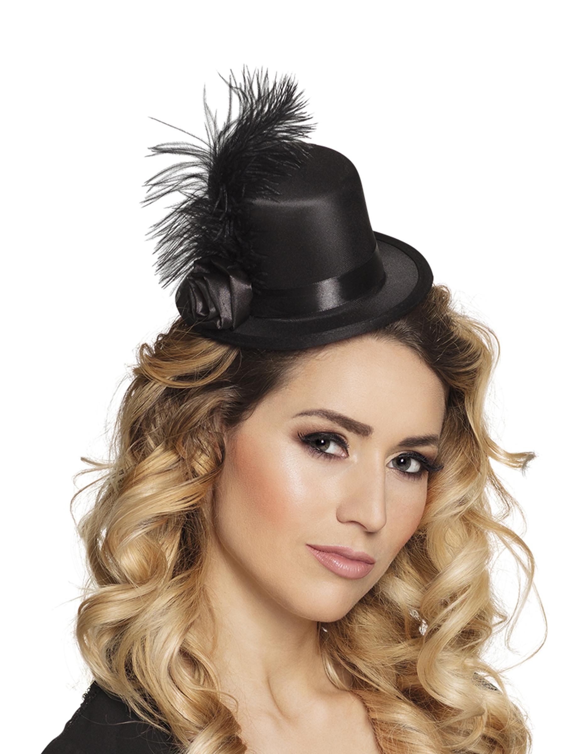 #Mini-Zylinder im 20er-Jahre Stil glamouröse Kopfbedeckung schwarz#