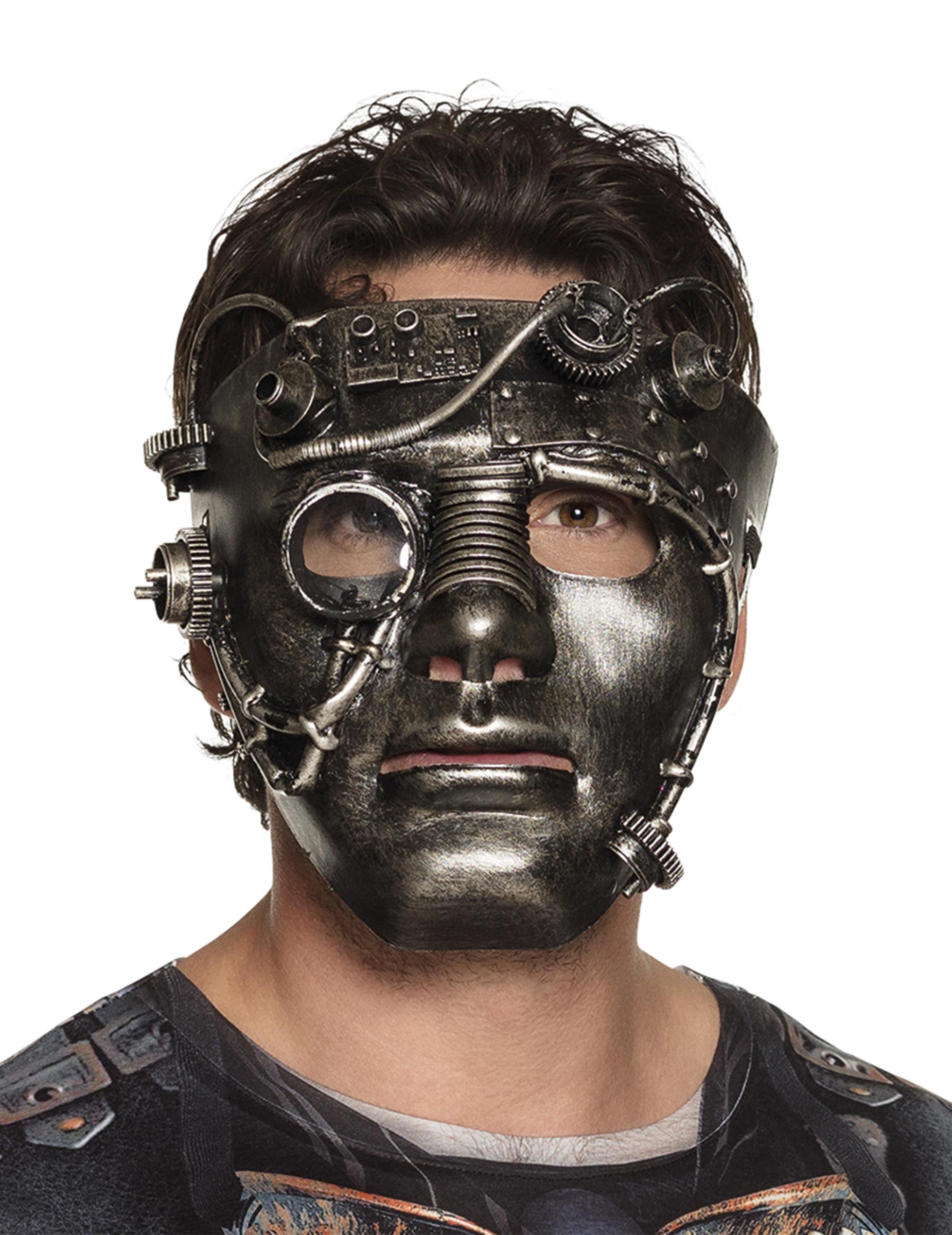 steampunk maske mit zahnr dern kost mzubeh r grau masken. Black Bedroom Furniture Sets. Home Design Ideas