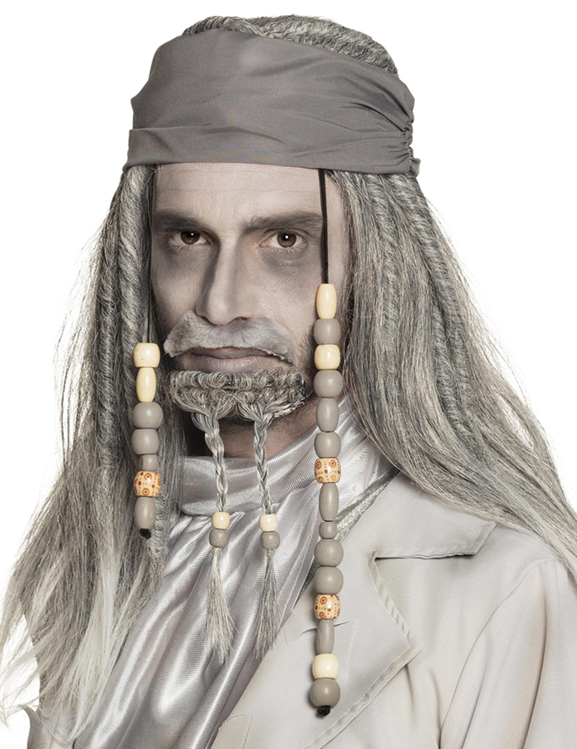 Gespenstische Piraten-Perücke mit Bandana 2-teilig grau 281064
