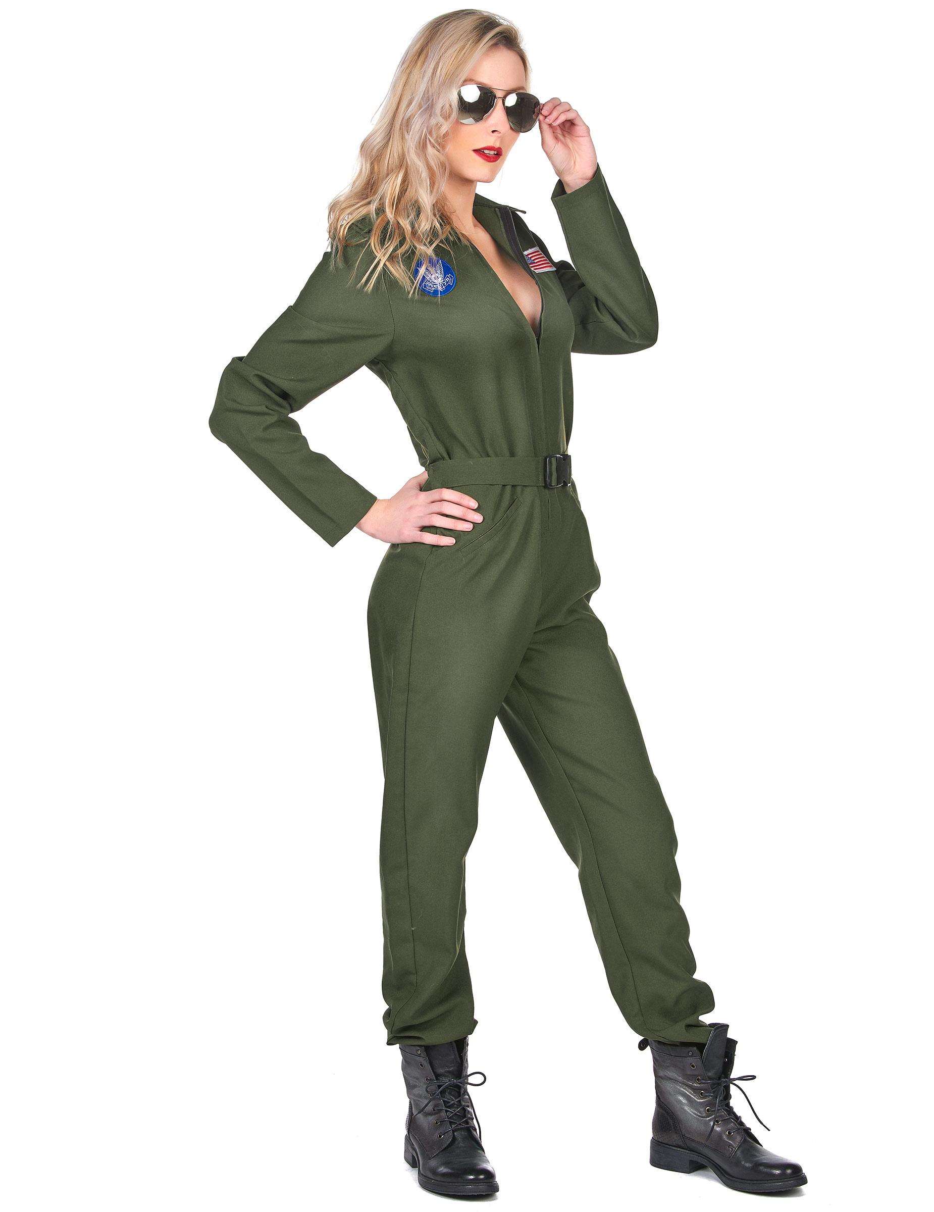 Sexy Kampfpilotin Overall Fur Damen Karneval Khaki Kostume Fur