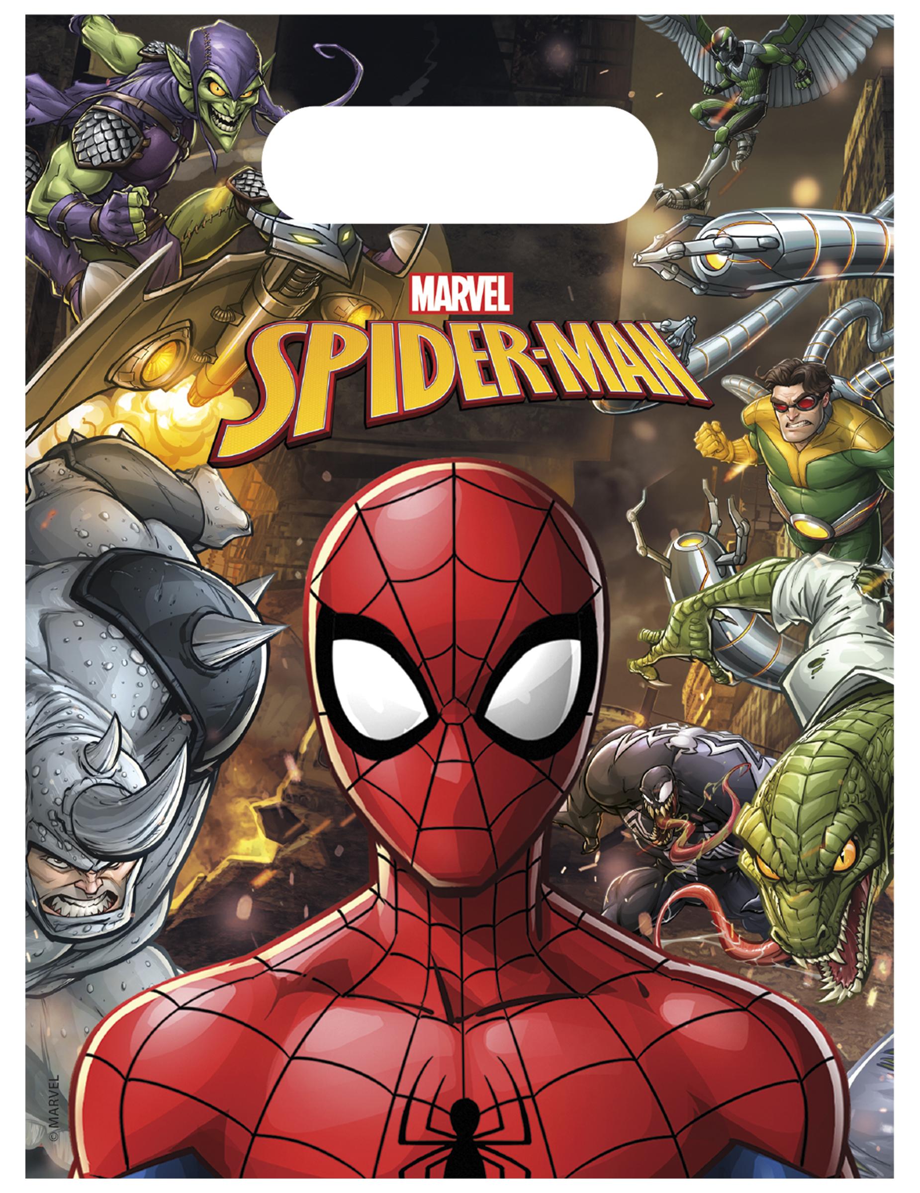 #Spiderman™-Geschenktüten Kindergeburtstag Marvel bunt 6 Stück 18x13cm#