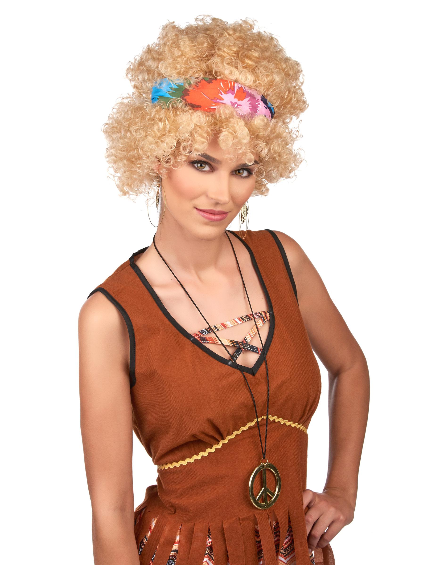Hippie Afro Perucke Fur Erwachsene Mit Haarband Blond