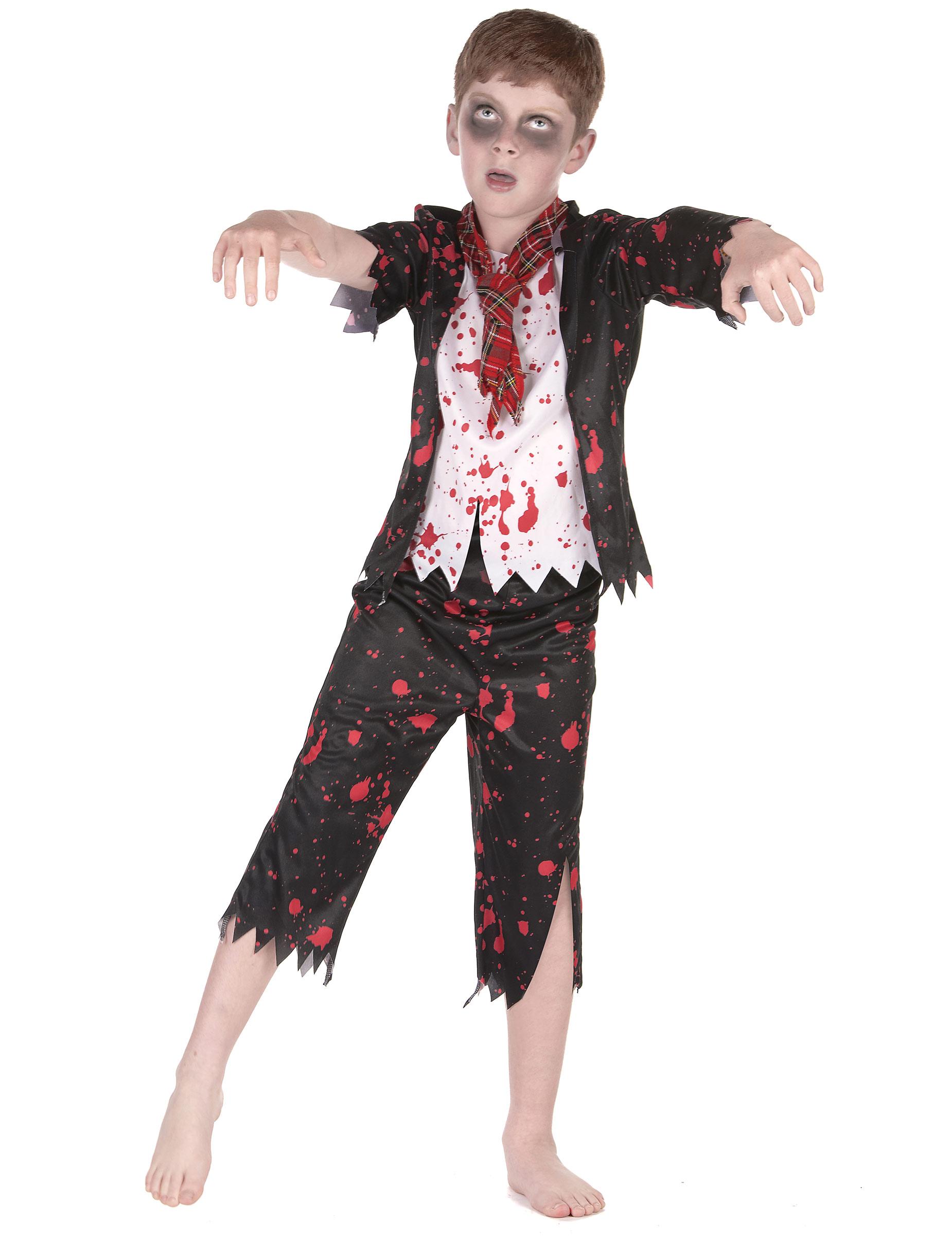 #Zombiehaftes Schüler-Kostüm für Jungen Halloween schwarz-weiss-rot#