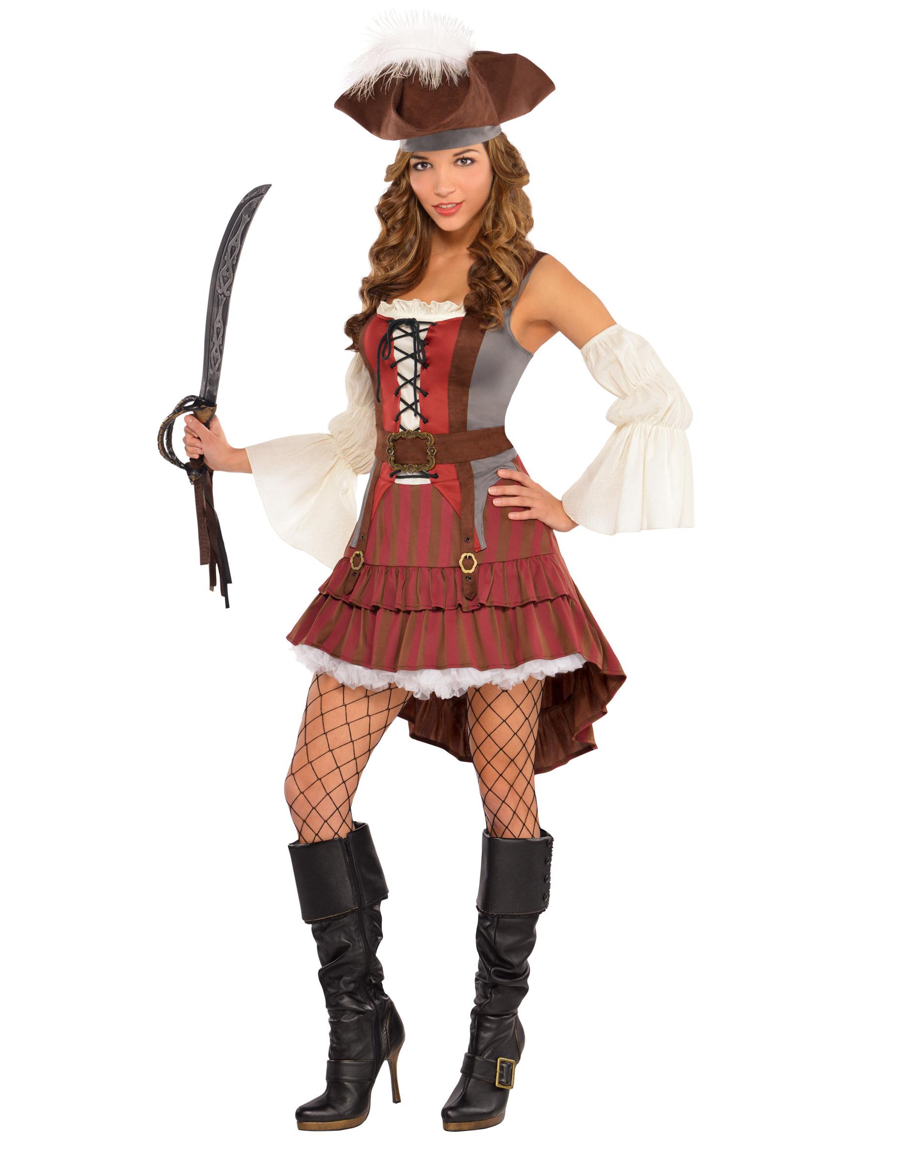 Piratenbraut Seerauber Kostum Fur Damen Rot Braun Weiss