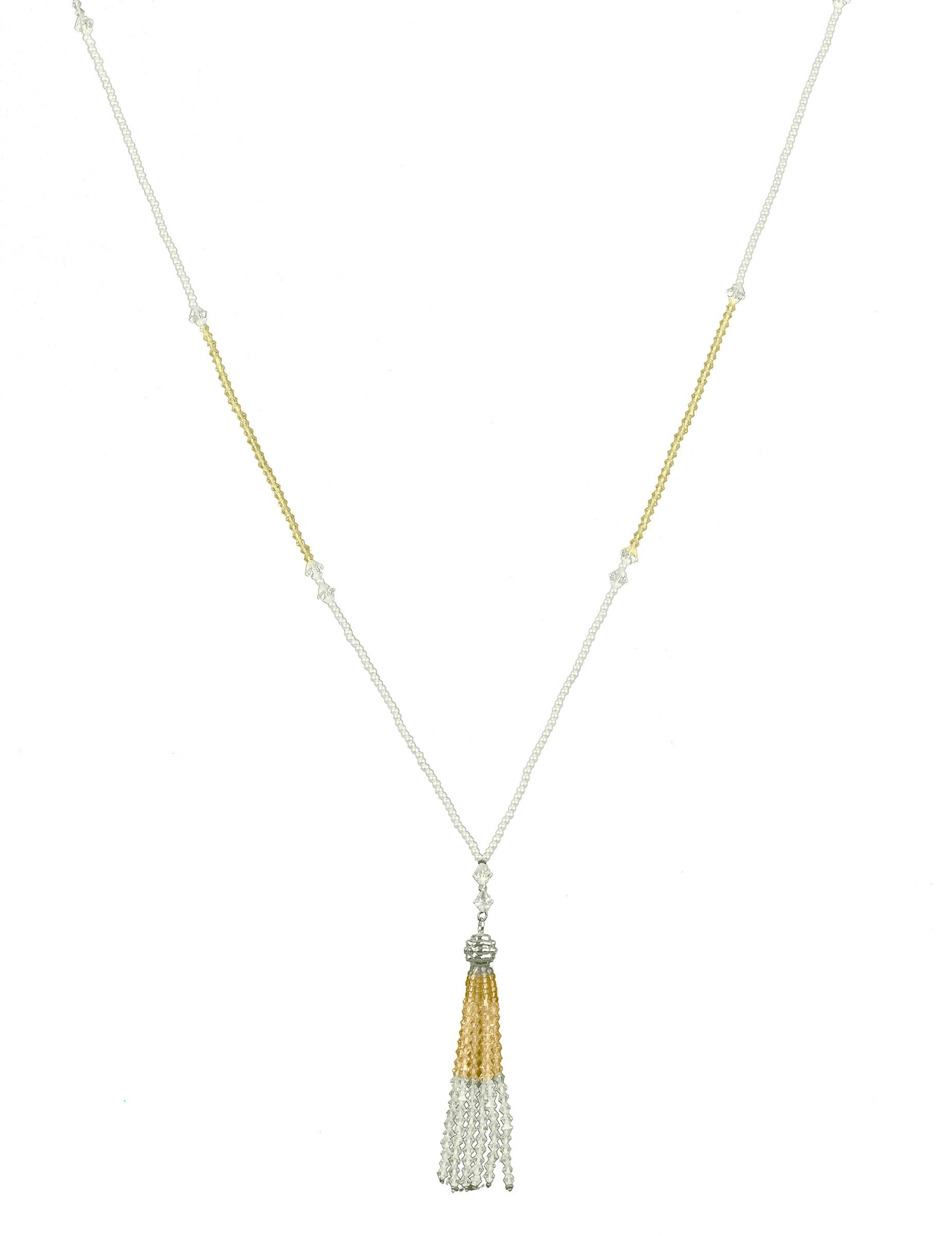 #Elegante Perlen-Halskette Charleston-Kostüm-Accessoire silber-gold#