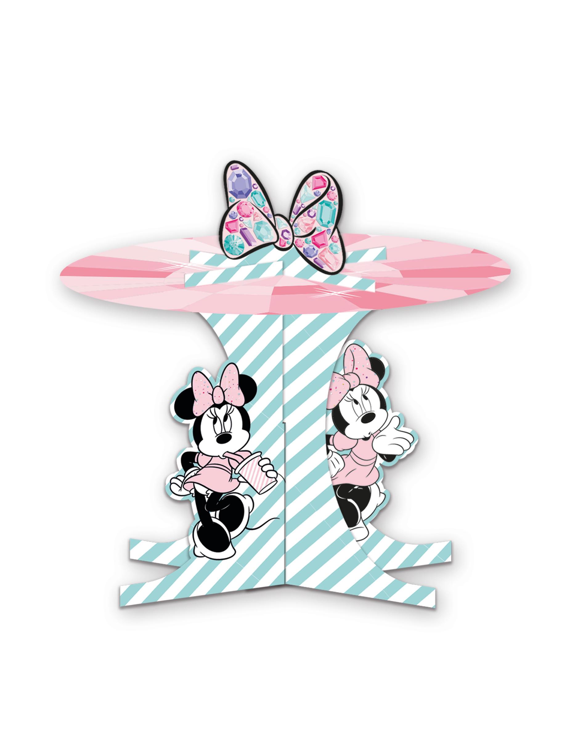 Minnie Maus-Cupcake-Aufsteller Tischzubehör Kindergeburtstag rosa-türkis 284795