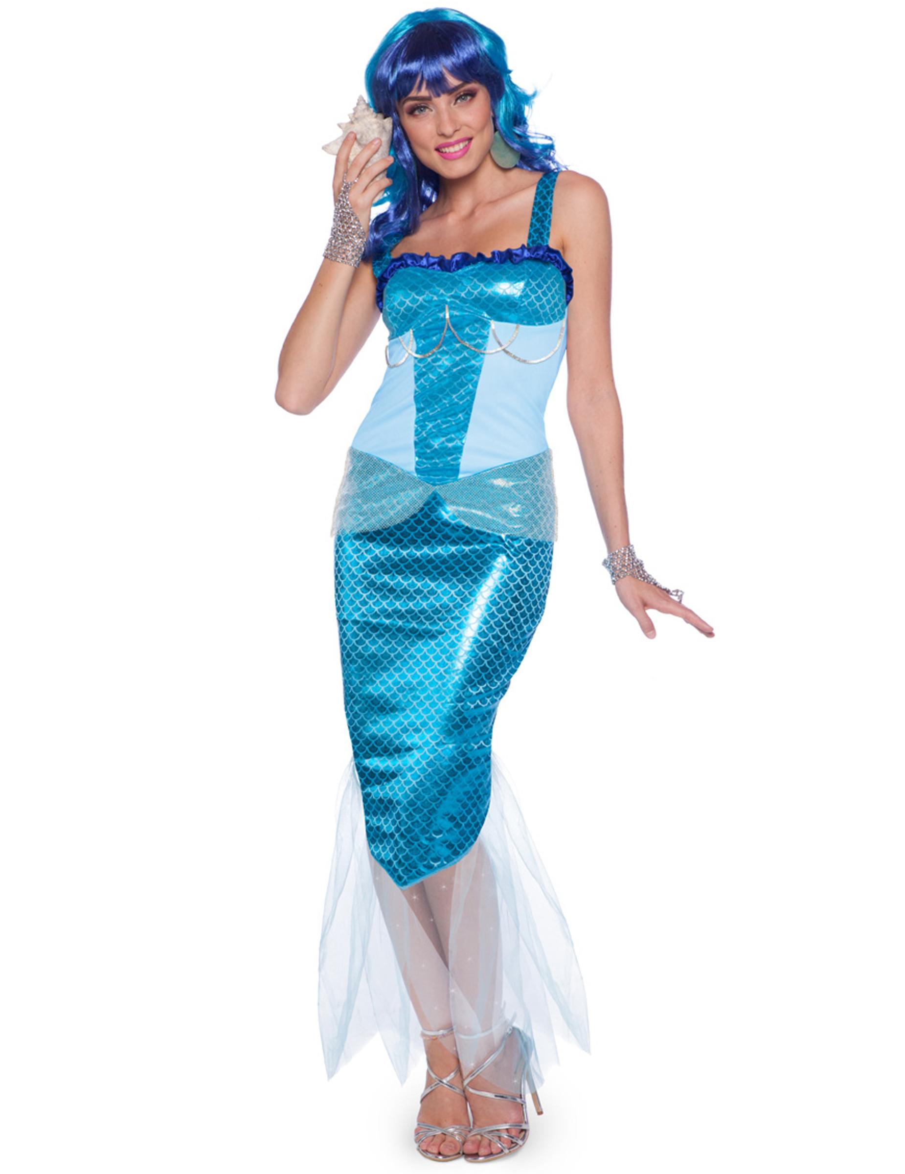 Bezaubernde Meerjungfrau Damenkostum Turkis Blau Kostume Fur