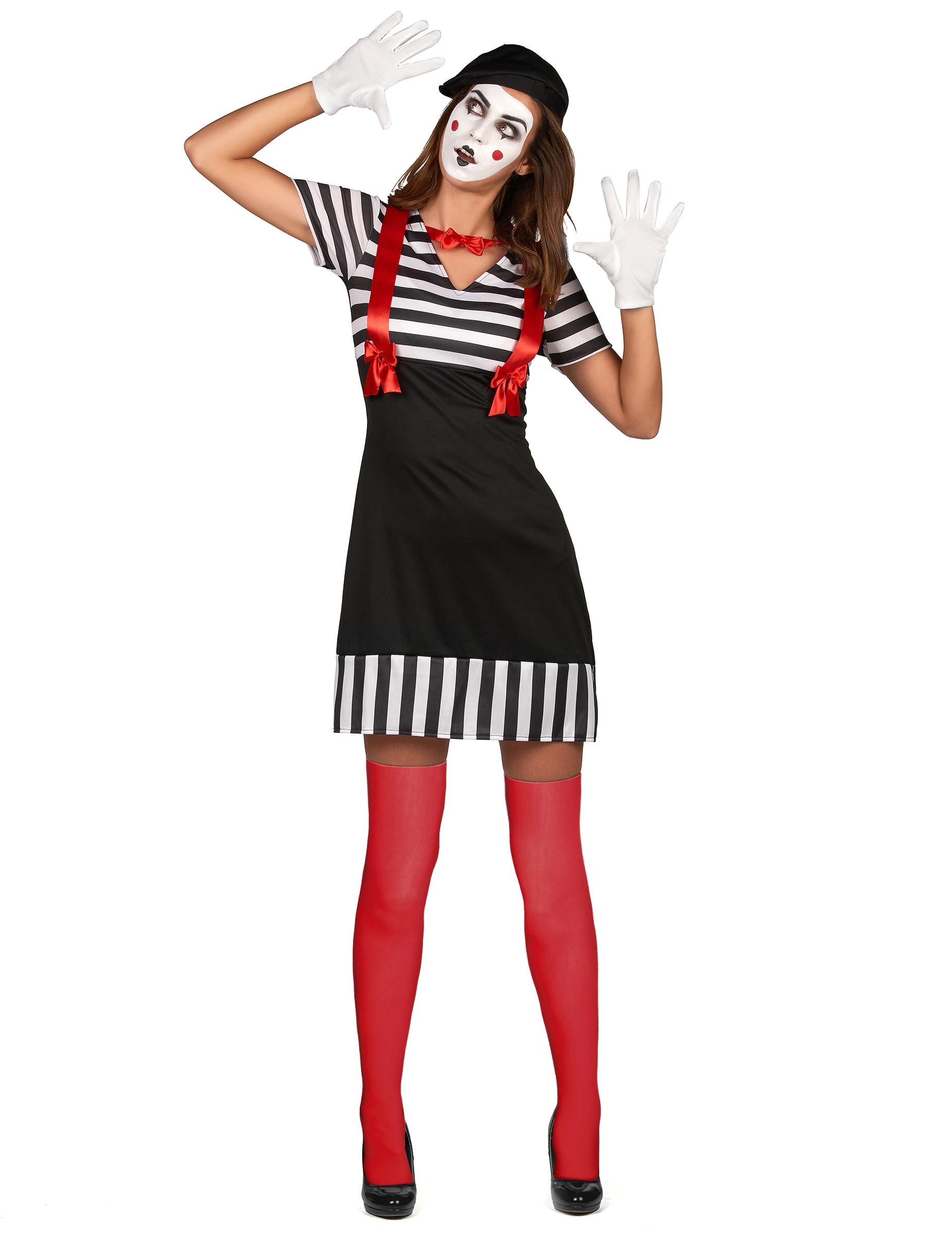 Pantomime Damenkostum Karneval Weiss Schwarz Rot Kostume Fur