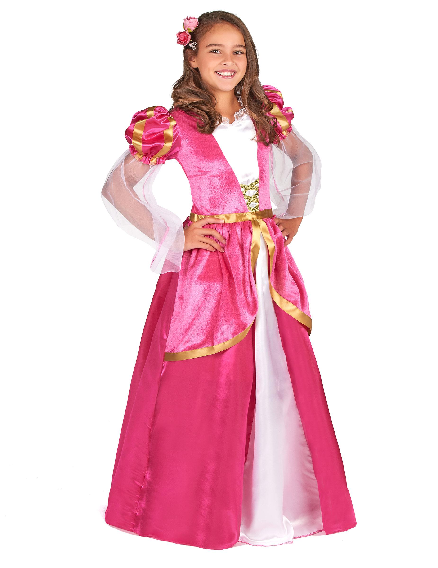 #Mittelalterliches Prinzessinnen-Mädchenkostüm Burgfräulein pink-gold#