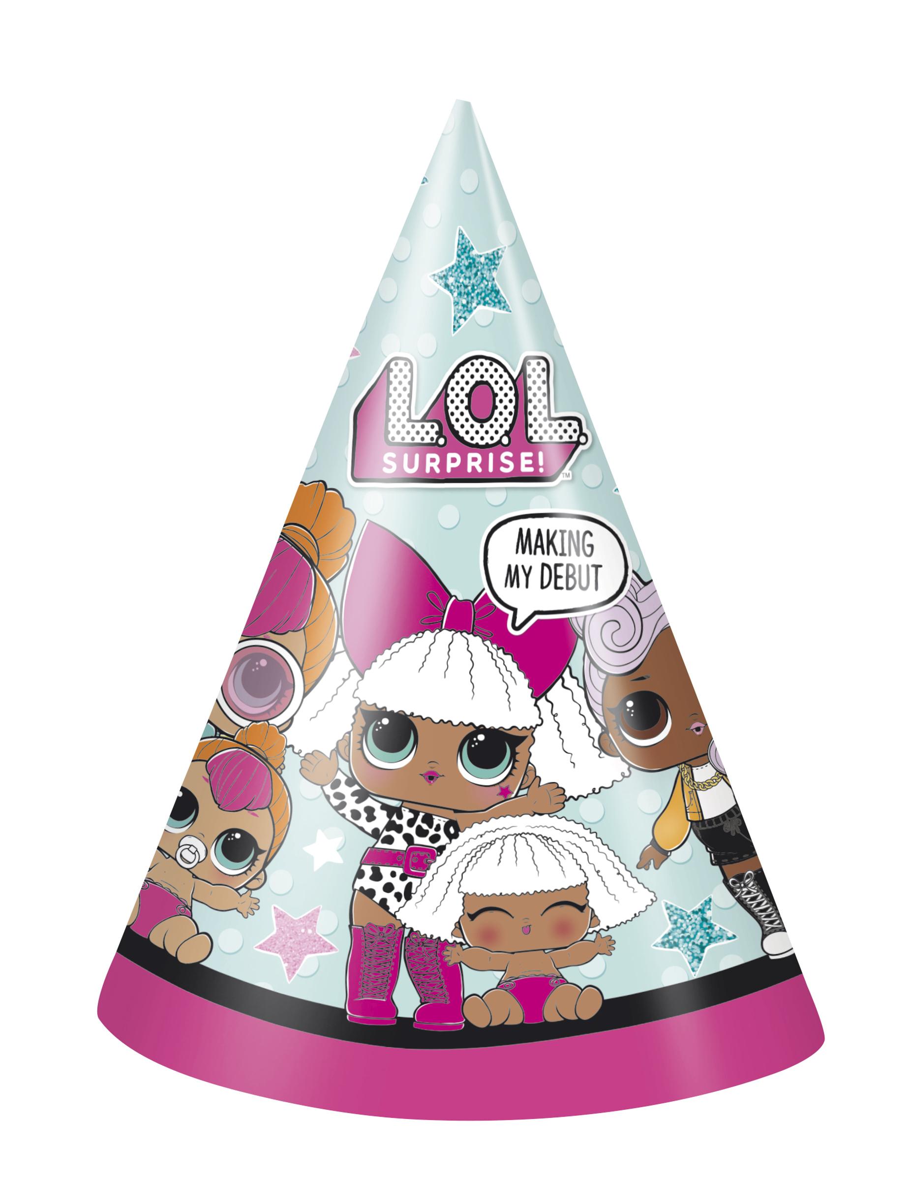 #LOL Surprise™-Hüte für Kindergeburtstage 8 Stück bunt#