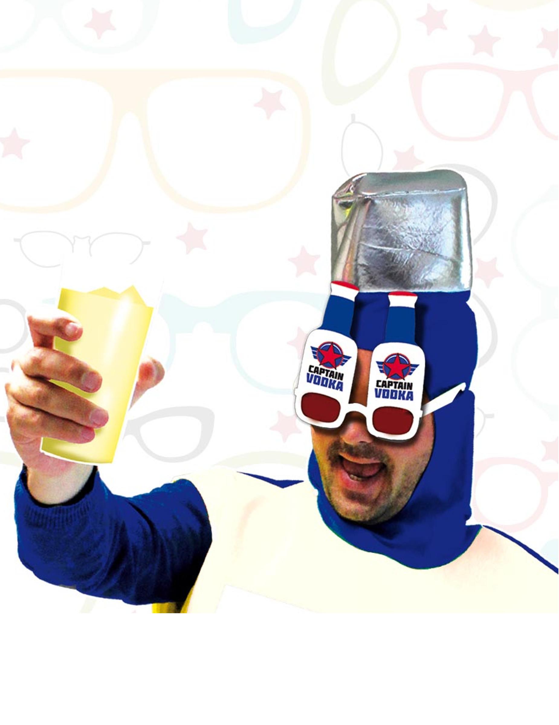 *Captain-Wodka-Brille für Erwachsene rot-blau-weiß*