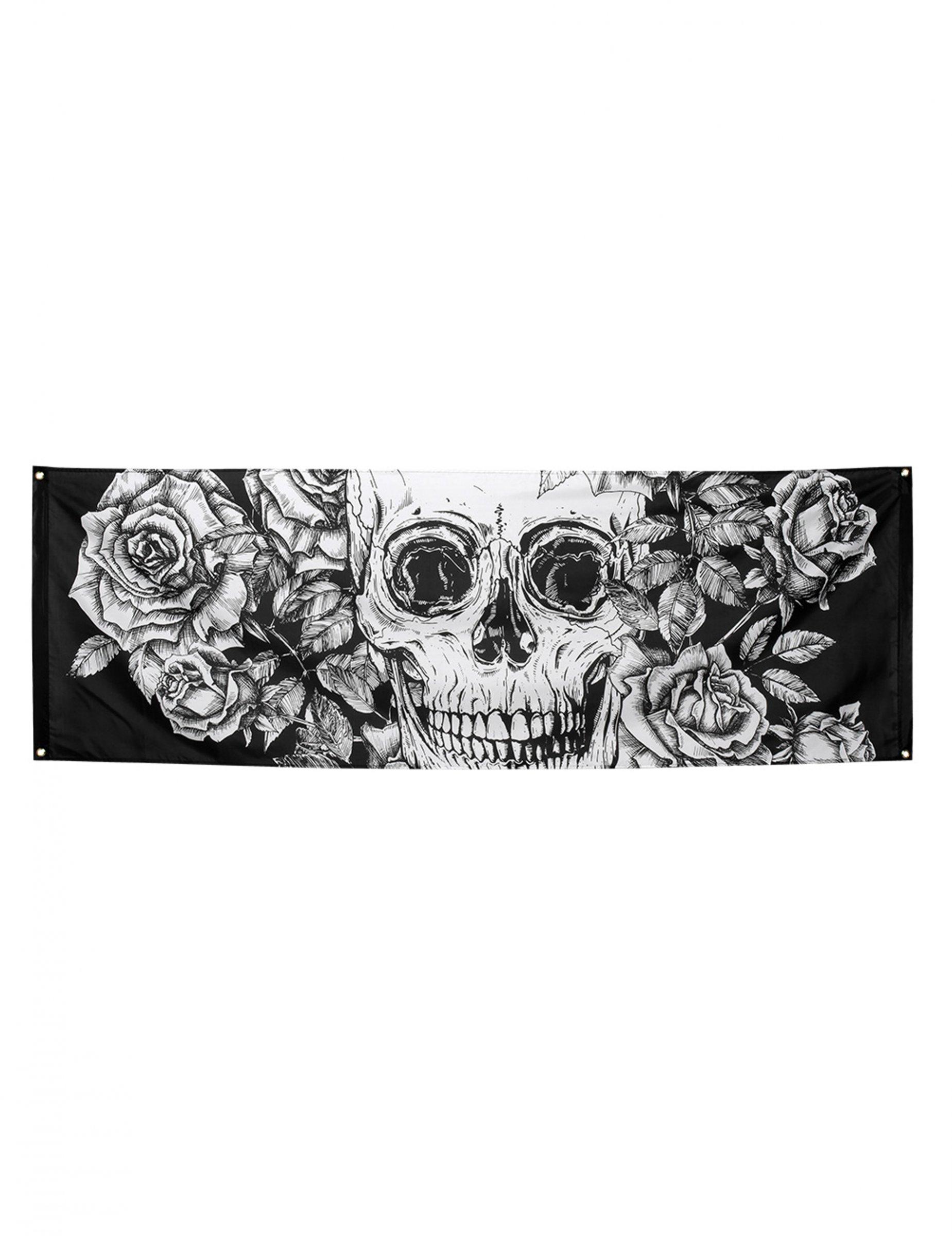 tag der toten-wanddekoration skelett halloween-deko schwarz-weiss