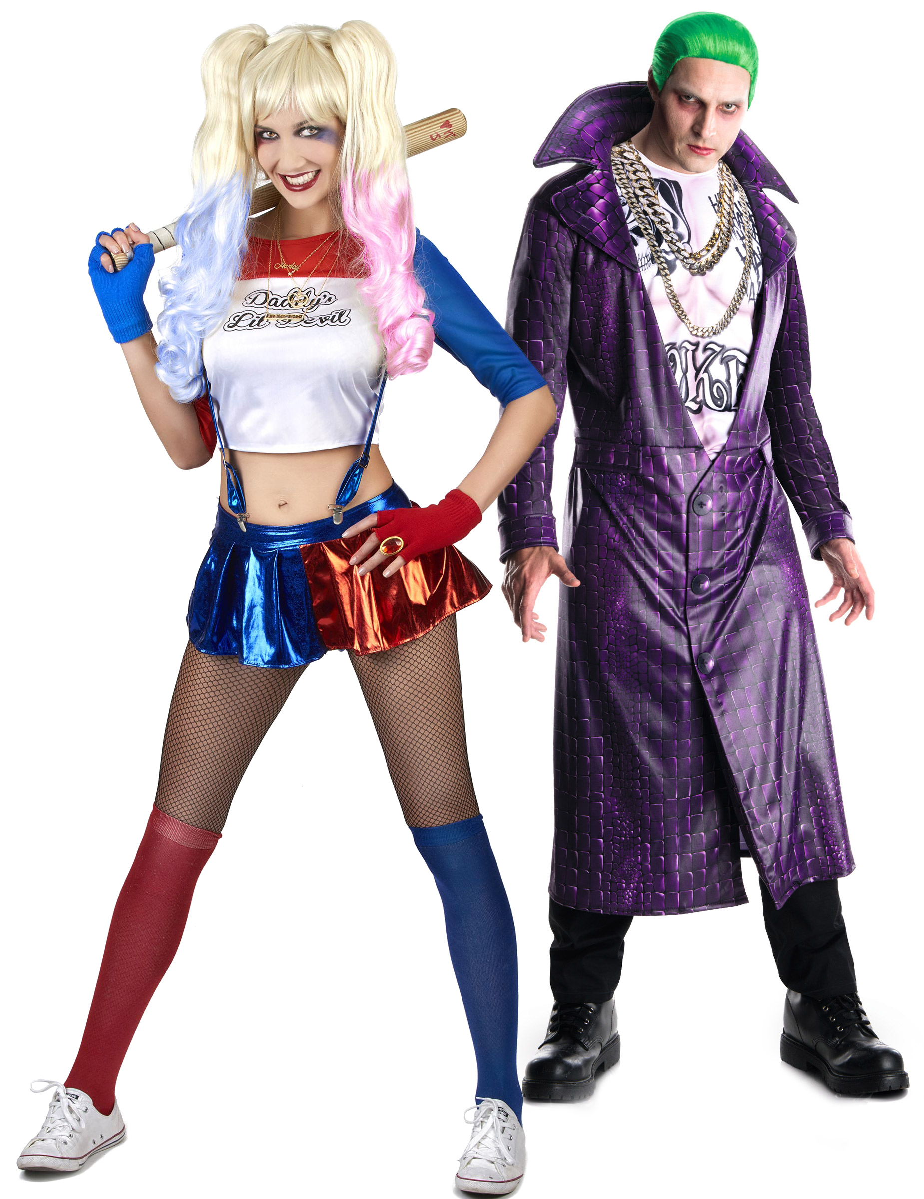 joker und seine partnerin paarkostum bunt