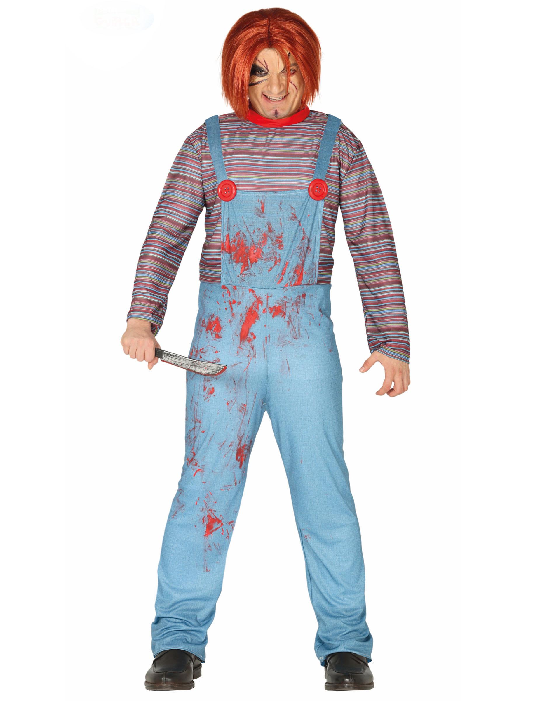 Killerpuppen-Horror-Kostüm für Erwachsene blau-rot - M (48-50) 286982