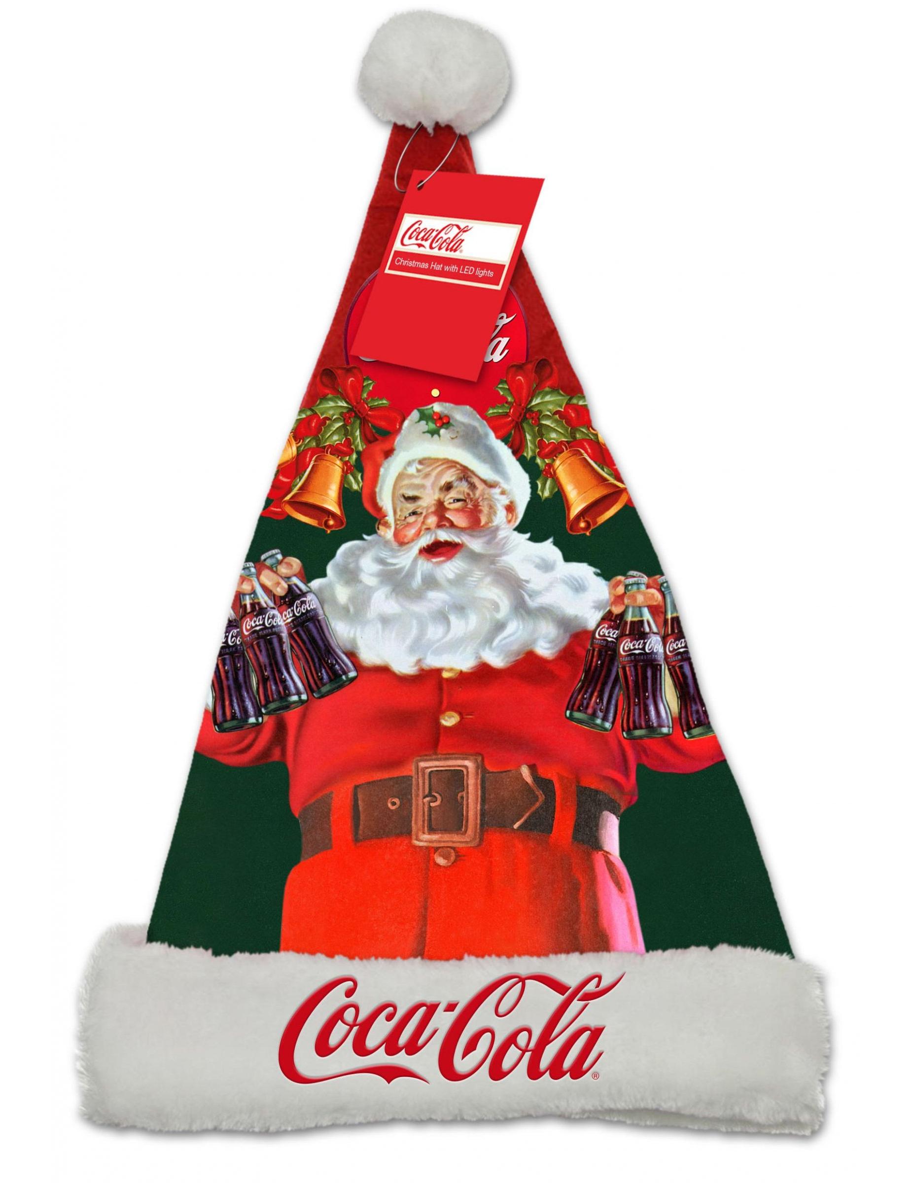 beleuchtete weihnachtsmann m tze coca cola bunt h te. Black Bedroom Furniture Sets. Home Design Ideas