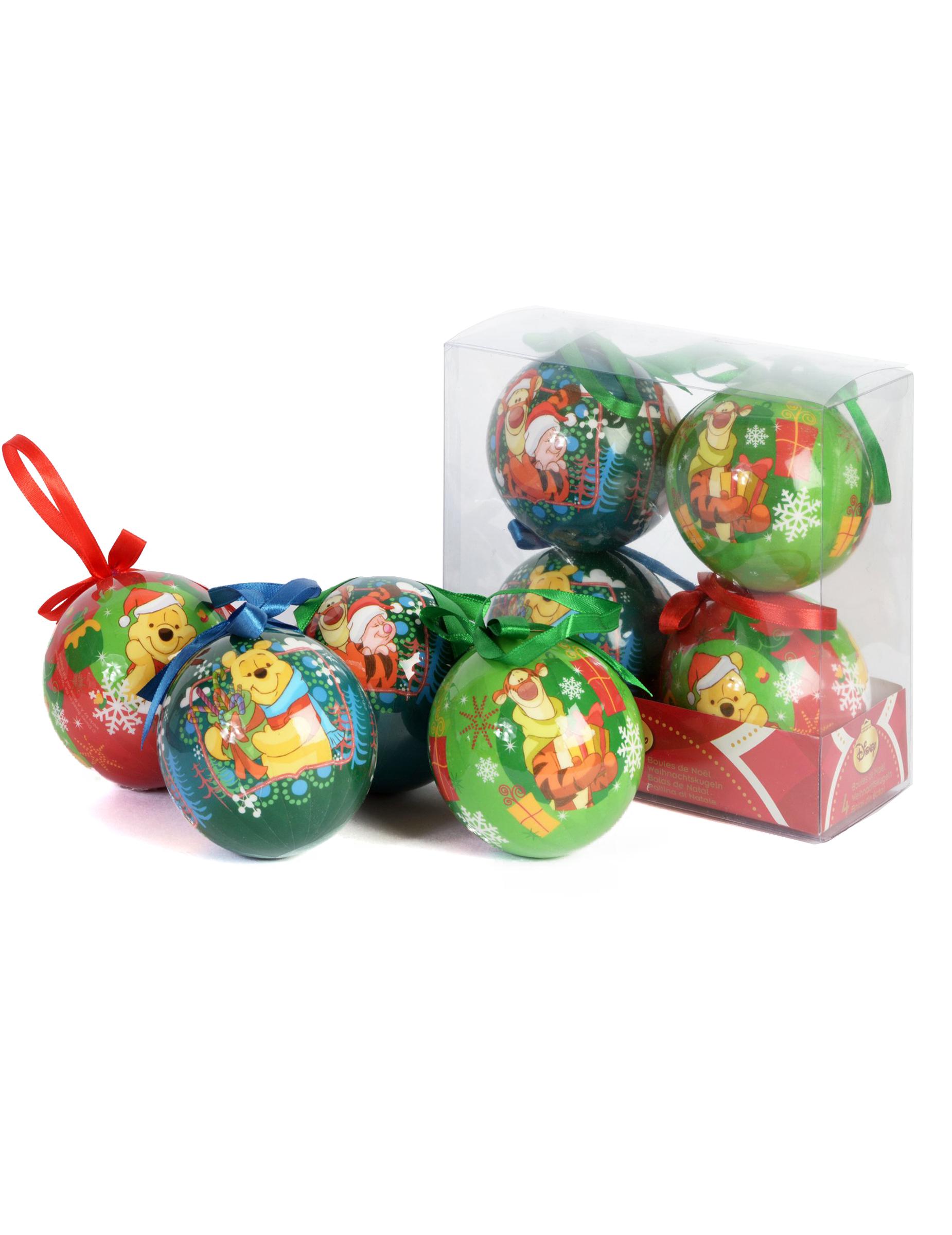 Christbaumkugeln Set Bunt.Winnie Puh Weihnachtskugeln Set 4 Stück Bunt 7 5cm