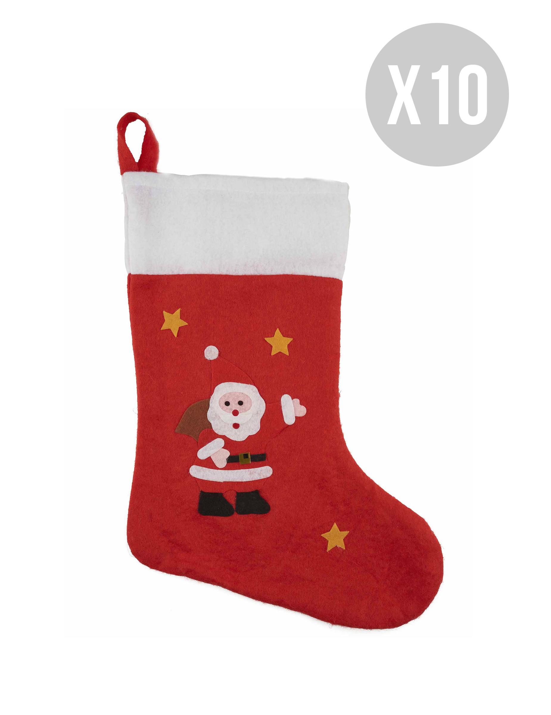 Weihnachts-Strumpf Geschenk und Raumdekoration 10 Stück weiss-rot ...