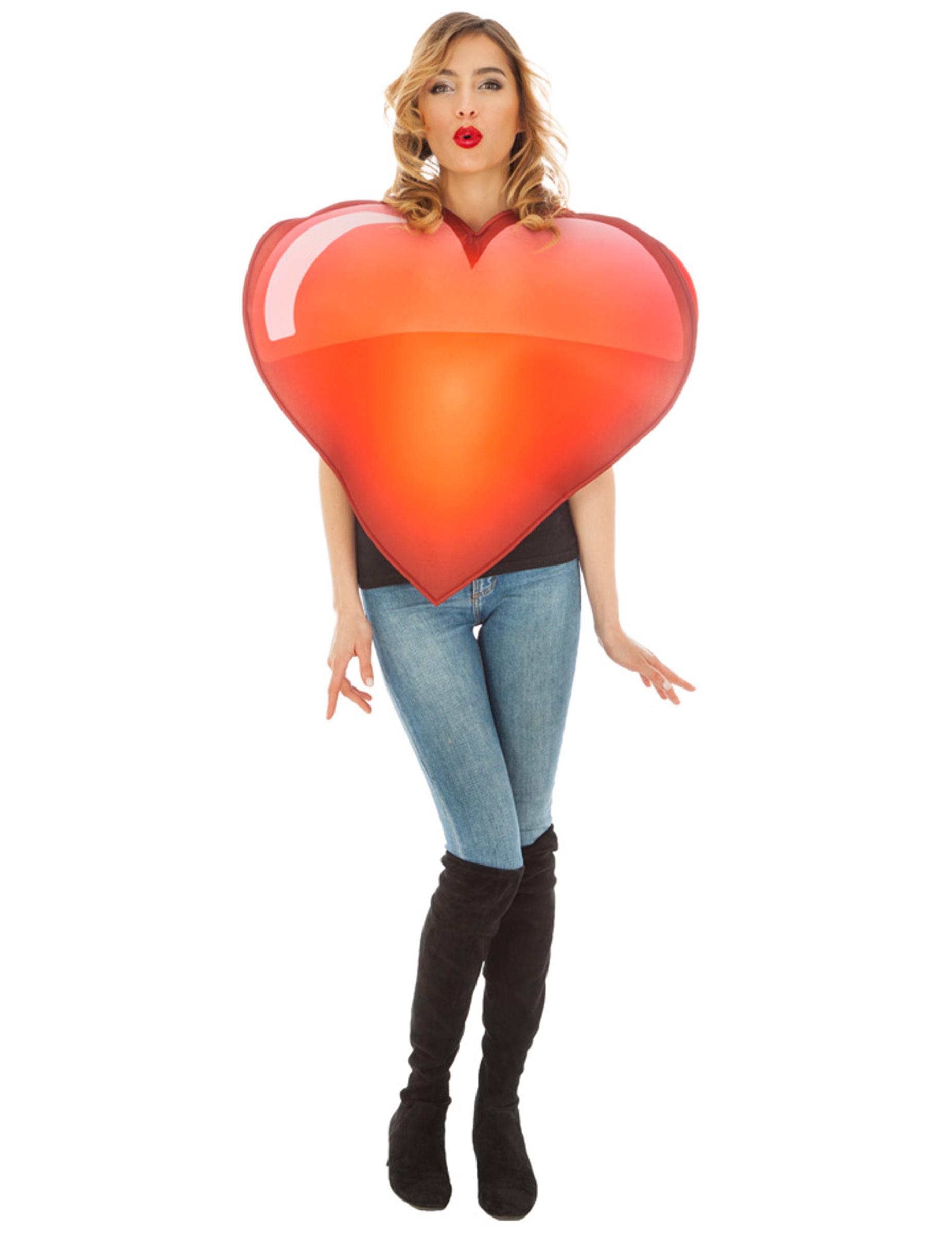 Emoji-Herz Unisex-Kostüm für Erwachsene rot 287438