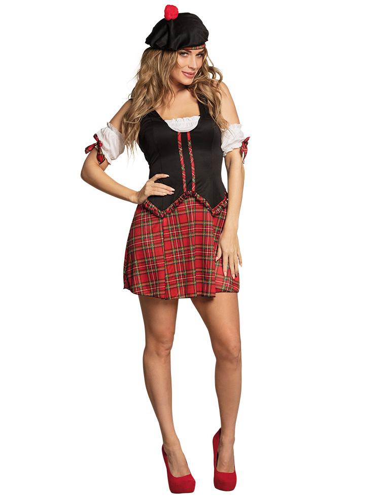 2019 echt klassische Passform klassische Schuhe Sexy Schottin-Damenkostüm für Karneval rot-schwarz-weiss