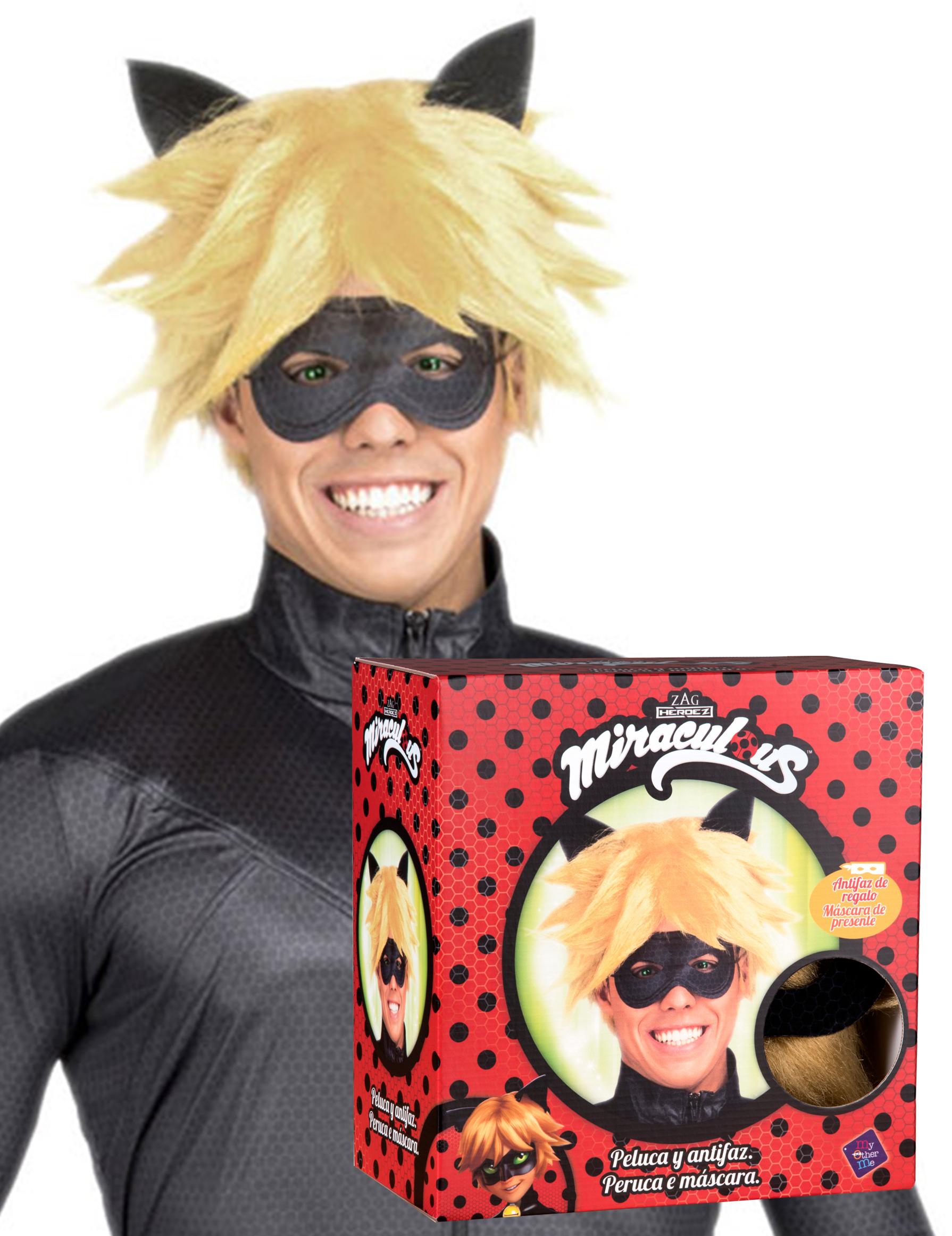 Cat Noir-Perücke und Maske für Herren Miraculous blond 287636