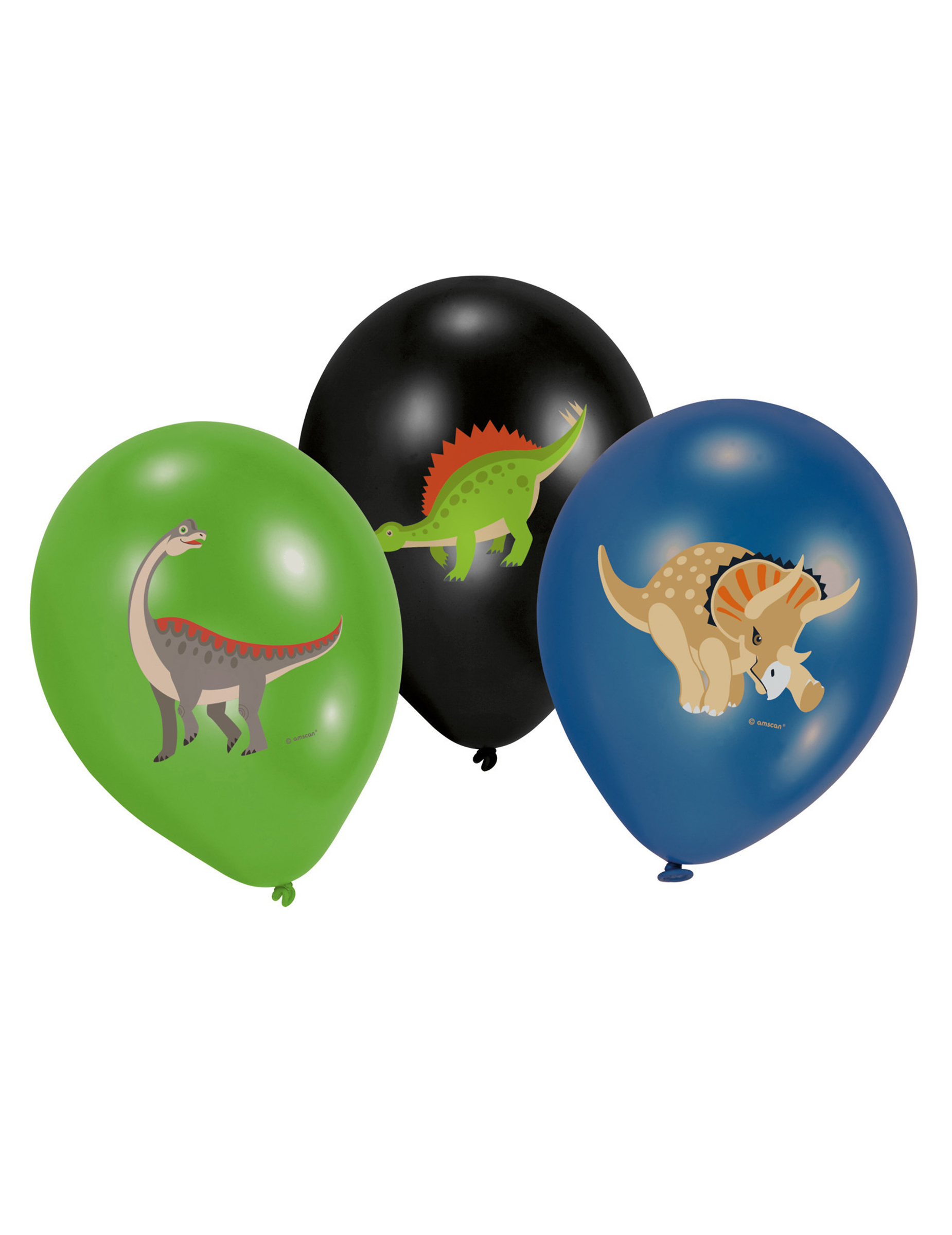 *Dinosaurier-Ballons 6 Stück grün-schwarz-blau*