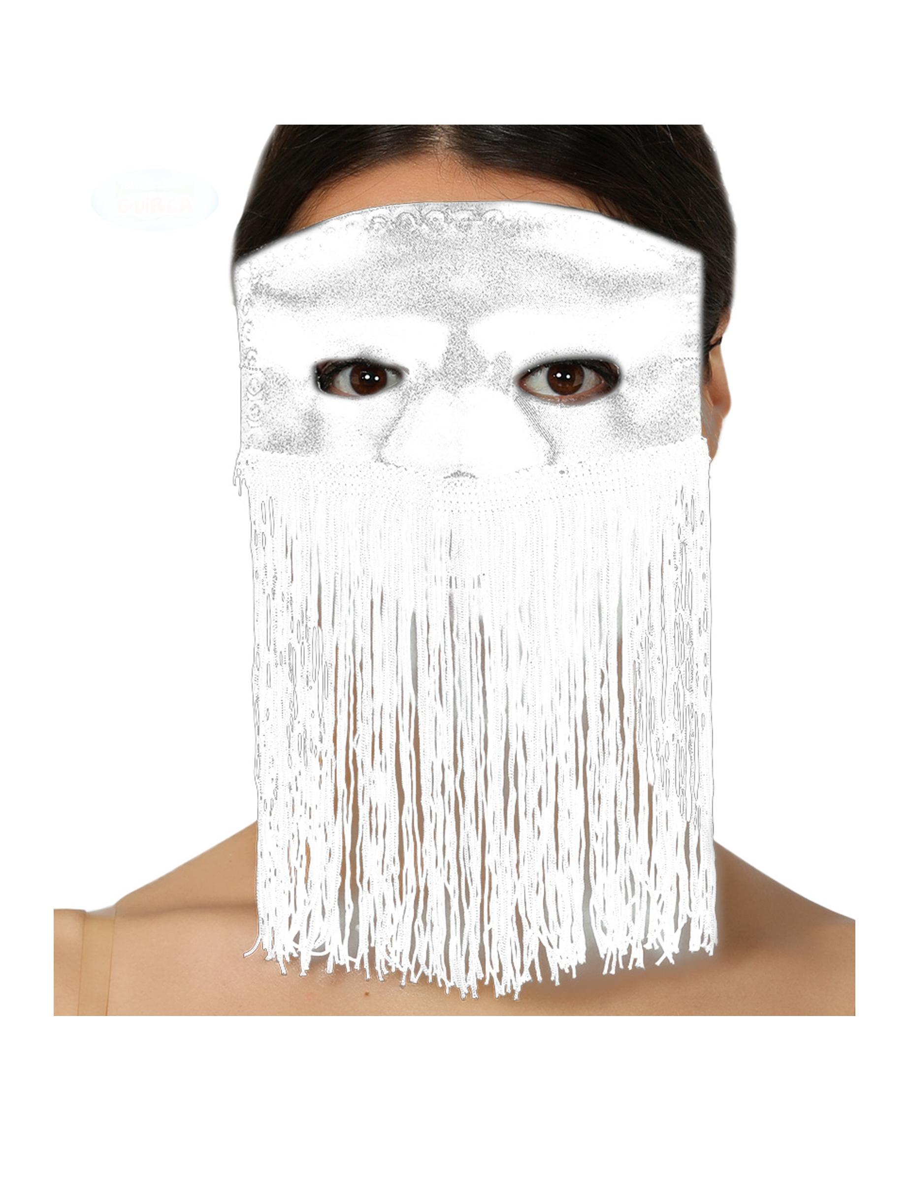 #Augenmaske mit Fransen für Erwachsene weiss#