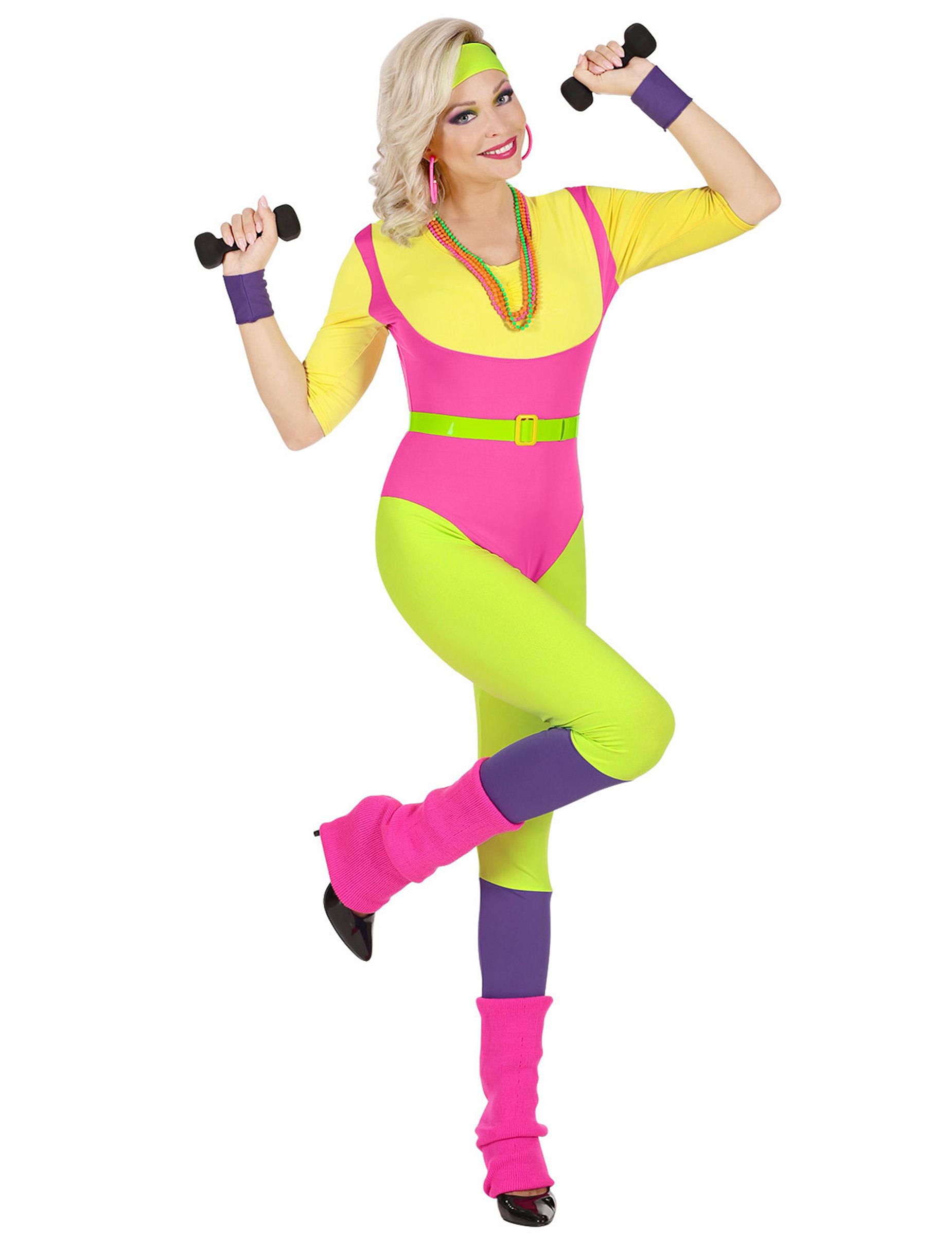 80er Jahre Aerobic-Damenkostüm Sportler-Kostüm für Karneval bunt - S 288651