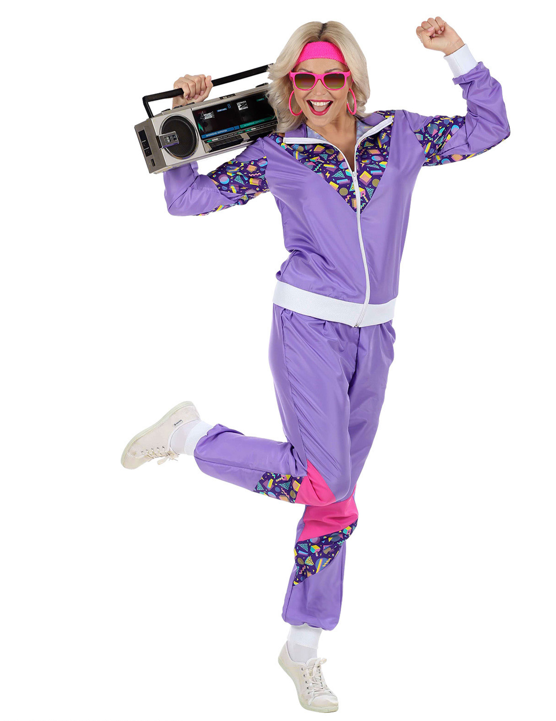 80er-Jahre Trainingsanzug für Damen lila-pink-weiss
