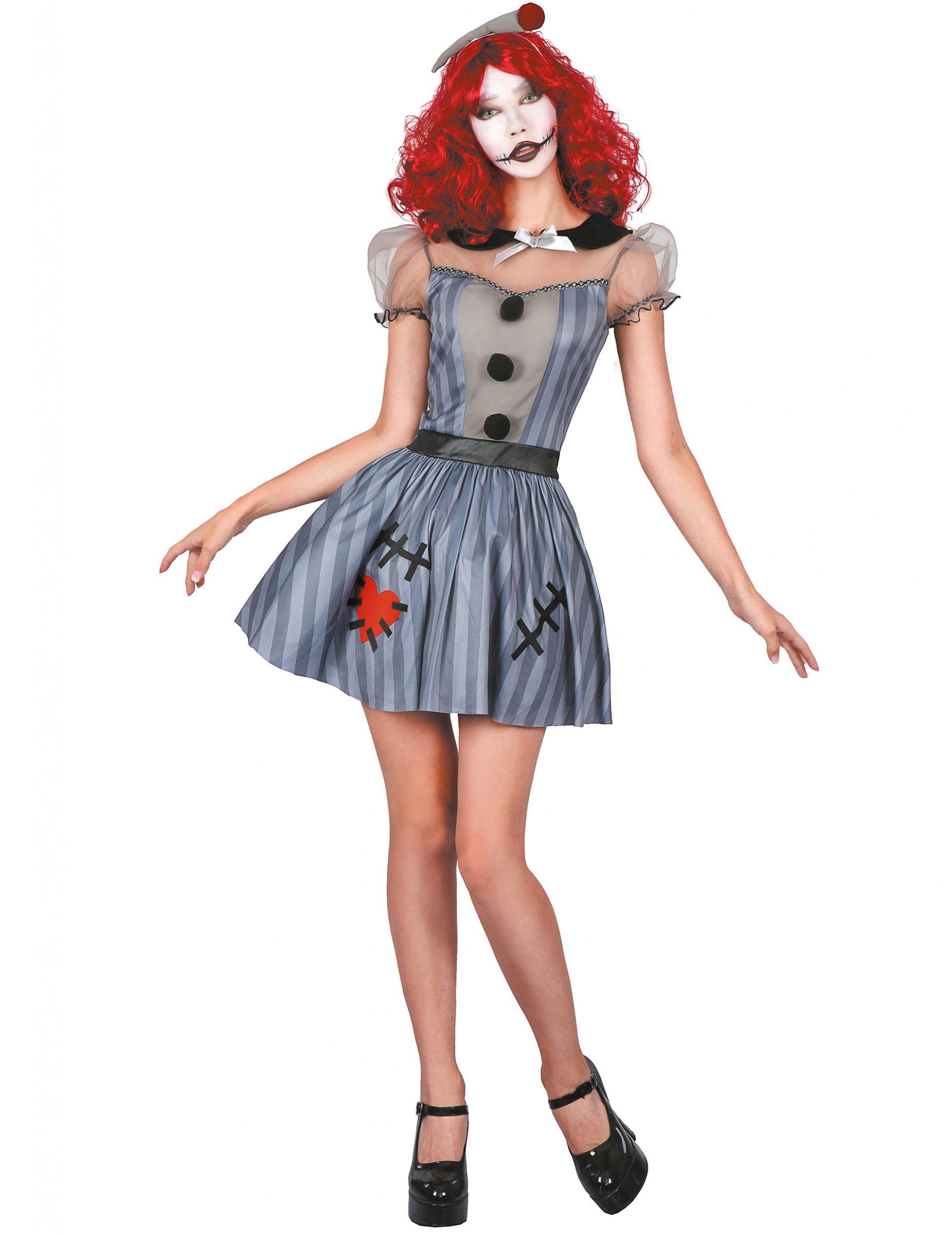 Horror-Puppe Damenkostüm für Halloween grau-schwarz-rot - M 288853
