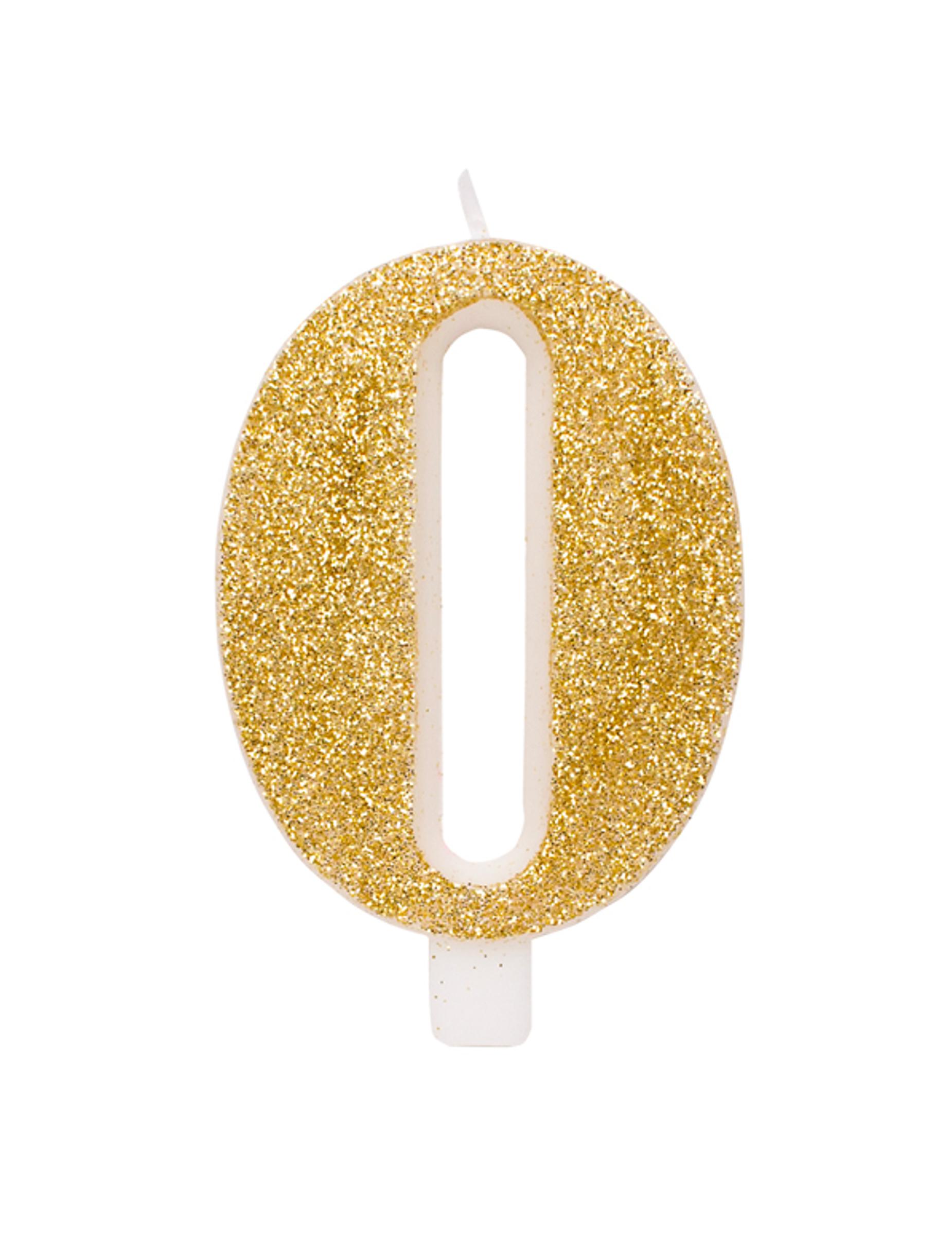#Glitzernde Geburtstags-Kerze Zahl Kuchendeko goldfarben 9,5 cm#