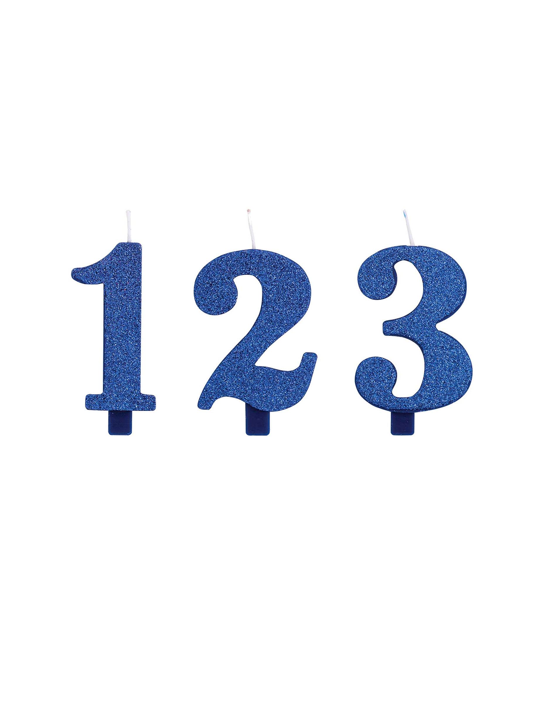 #Glitzernde Zahlenkerze für Geburtstage Backzubehör blau 9,5 cm#
