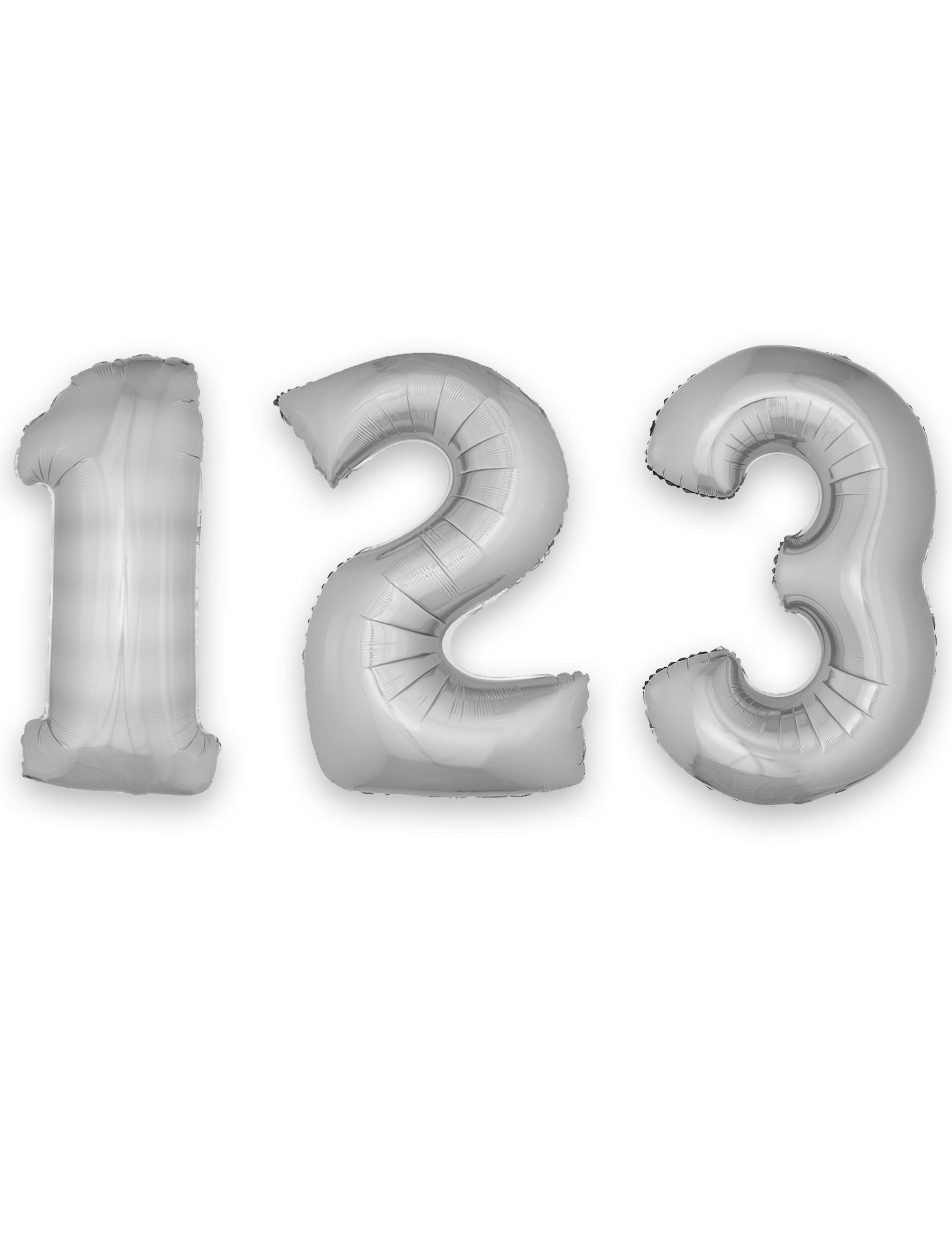 #Folienballon Ziffern Raumdekoration Silber 1m#