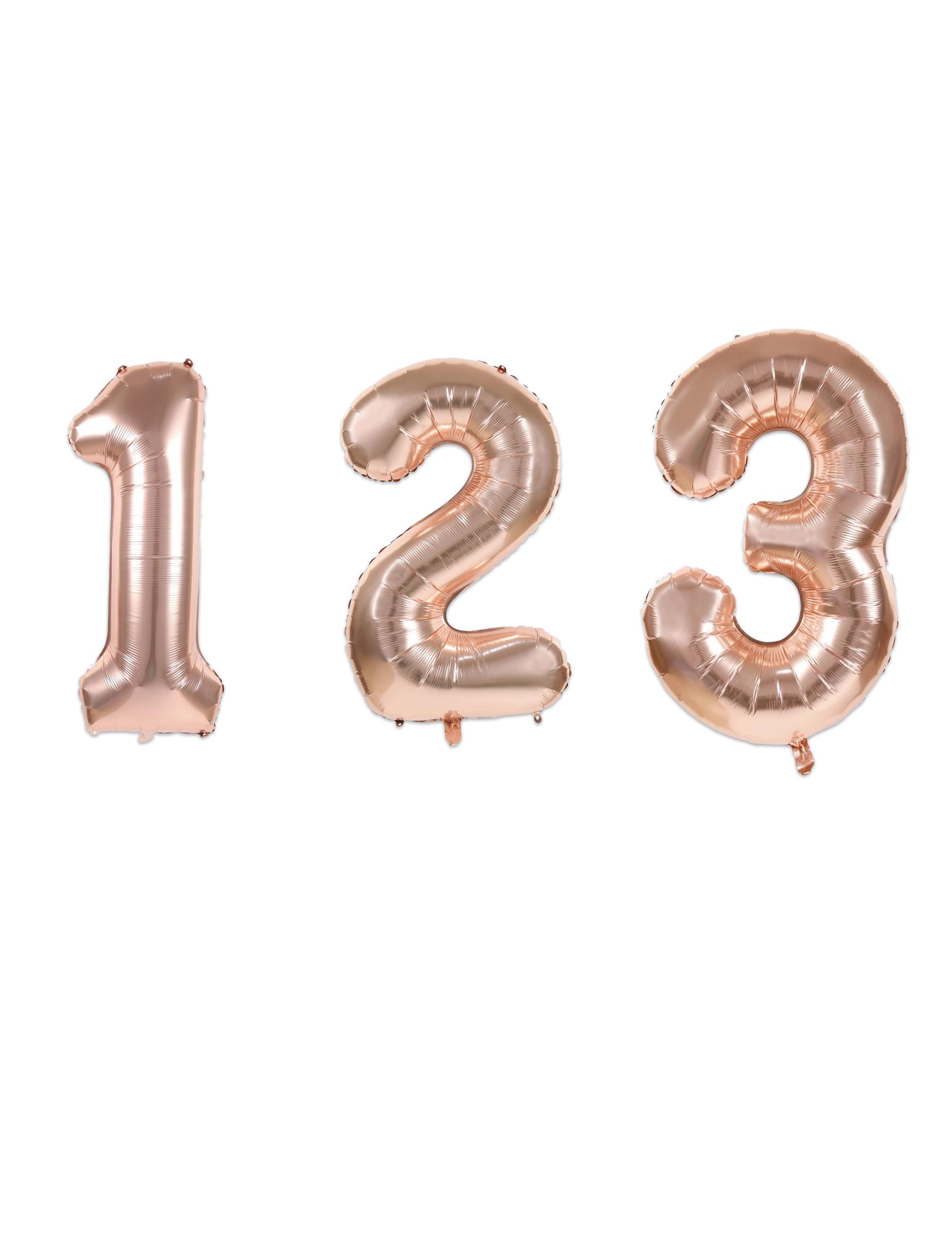 #Zahlen-Folienballon Raumdekoration roségold matt 36 cm#