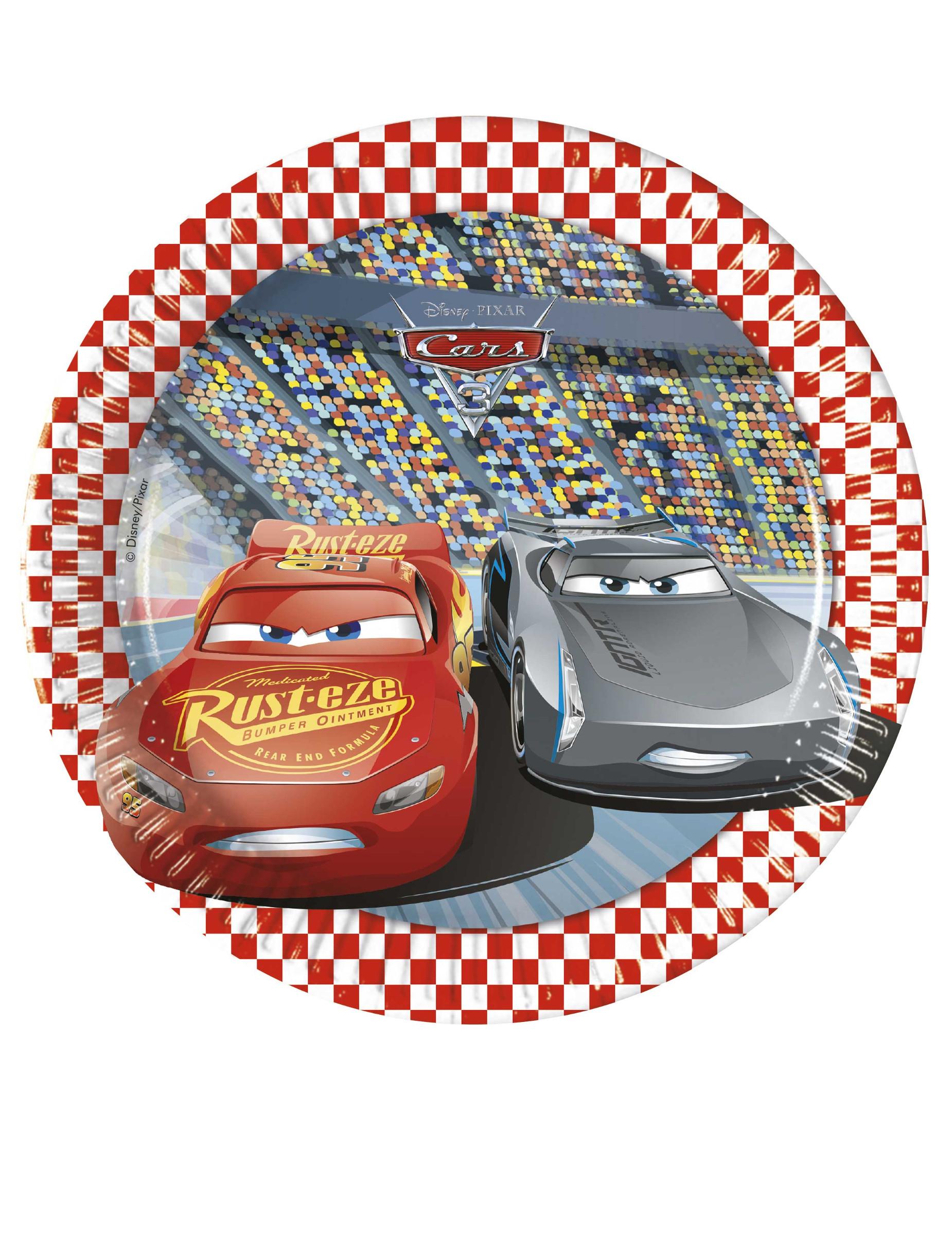 #Disney Cars™-Pappteller für Kindergeburtstage 8 Stück bunt 20cm#