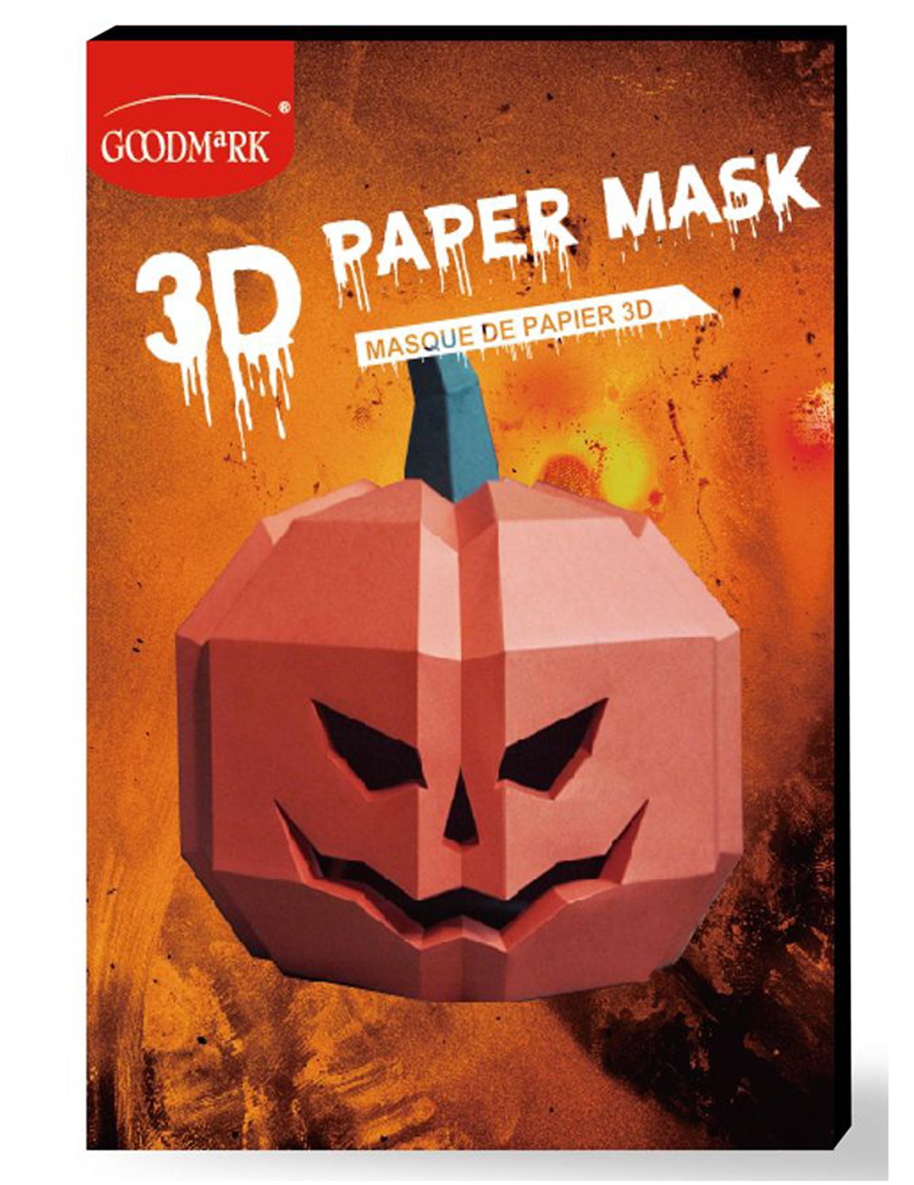 Kürbis-Maske 3D Polygon-Maske für Halloween orangefarben 292299