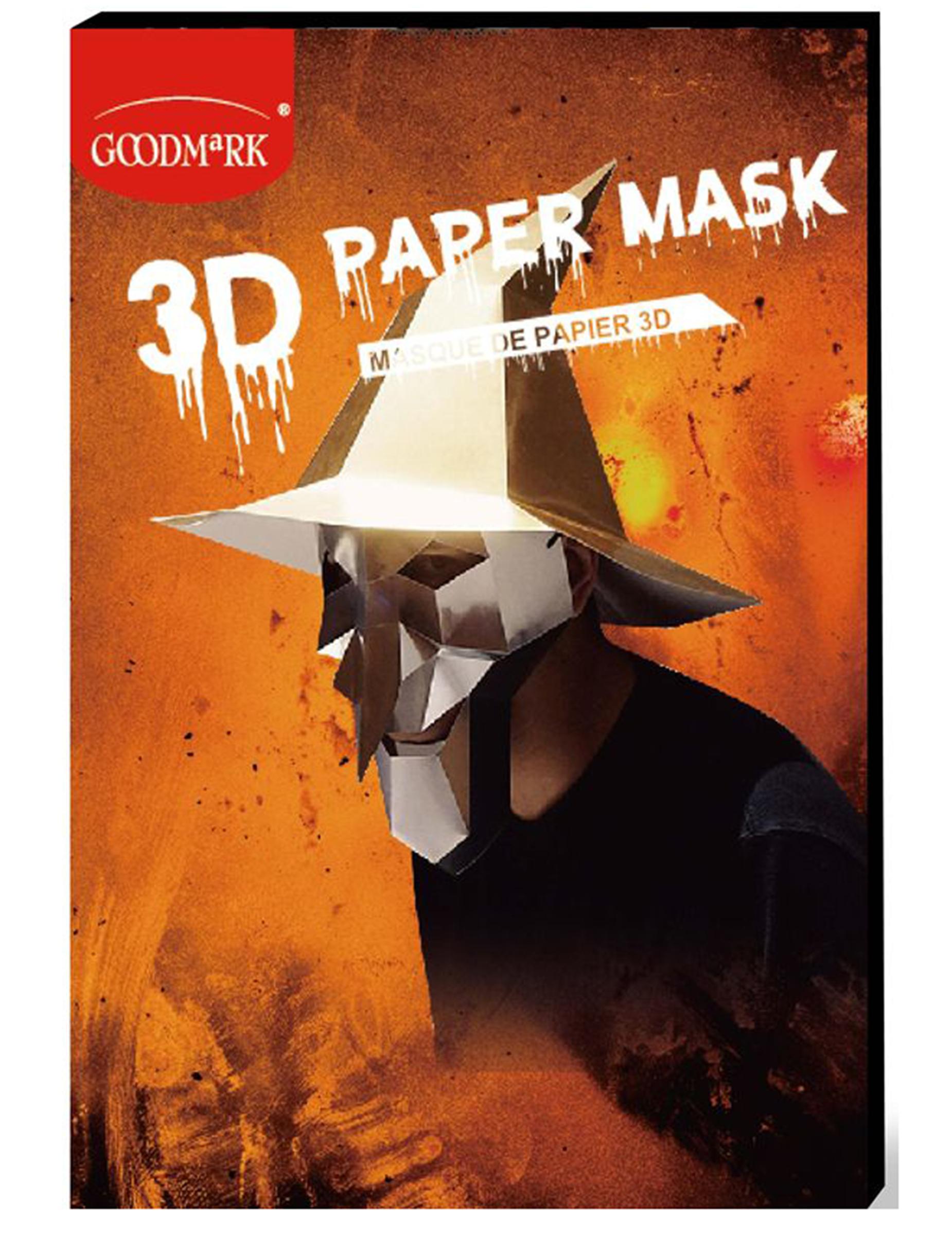 3D Hexen-Maske aus Papier Halloween-Maske silber 292300