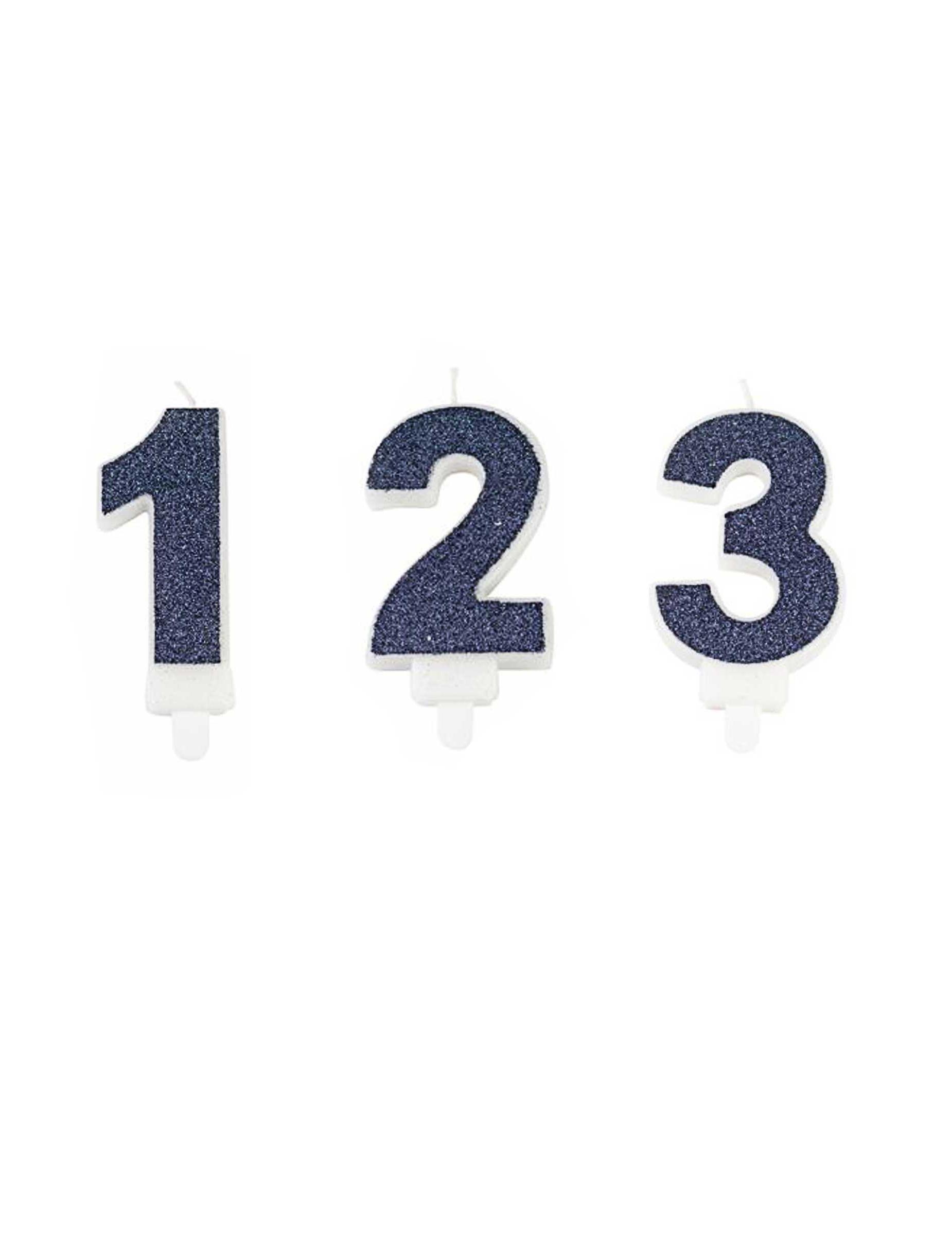 #Geburtstagskerze Zahl dunkelblau Glitzer 7,3 cm#