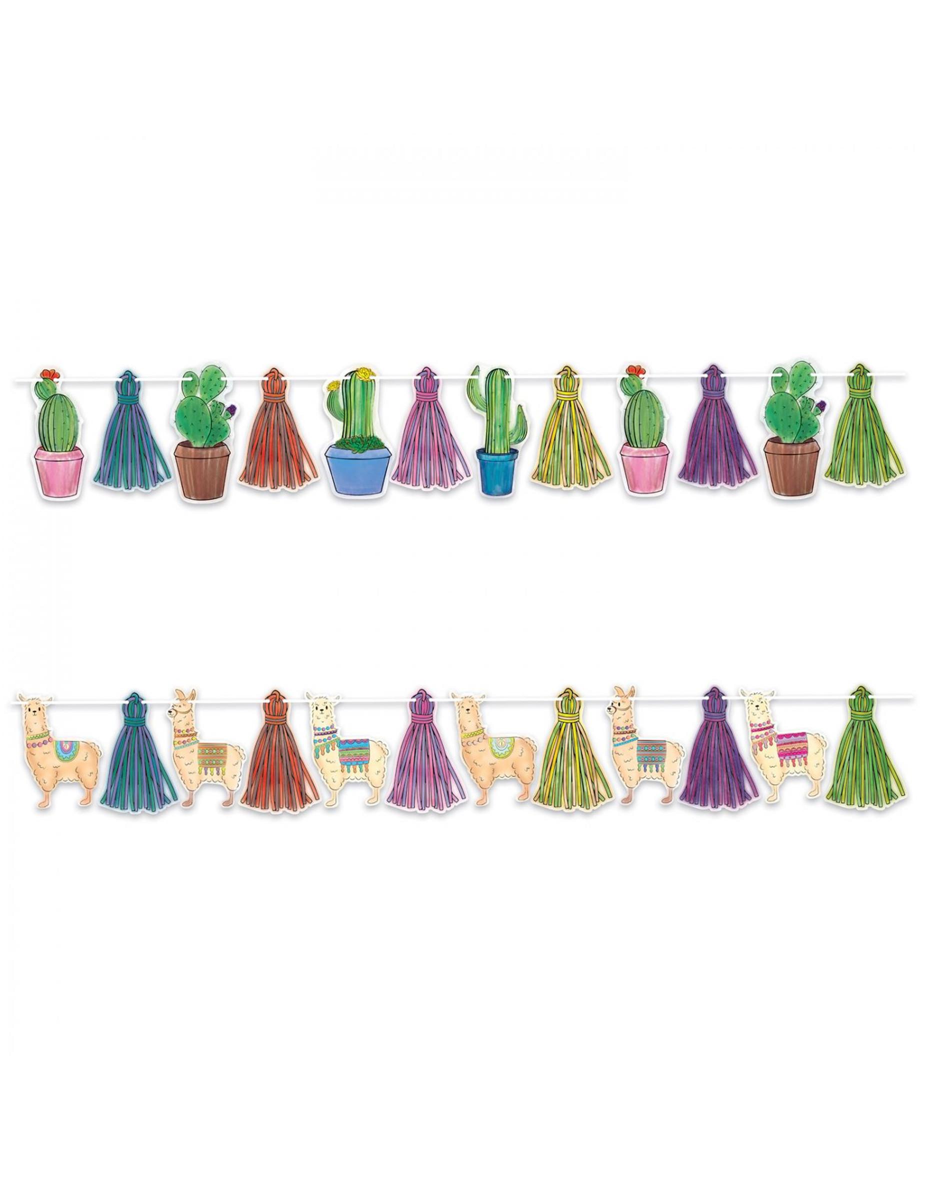 #Lama und Kaktus Girlande aus Pappkarton 365 cm#