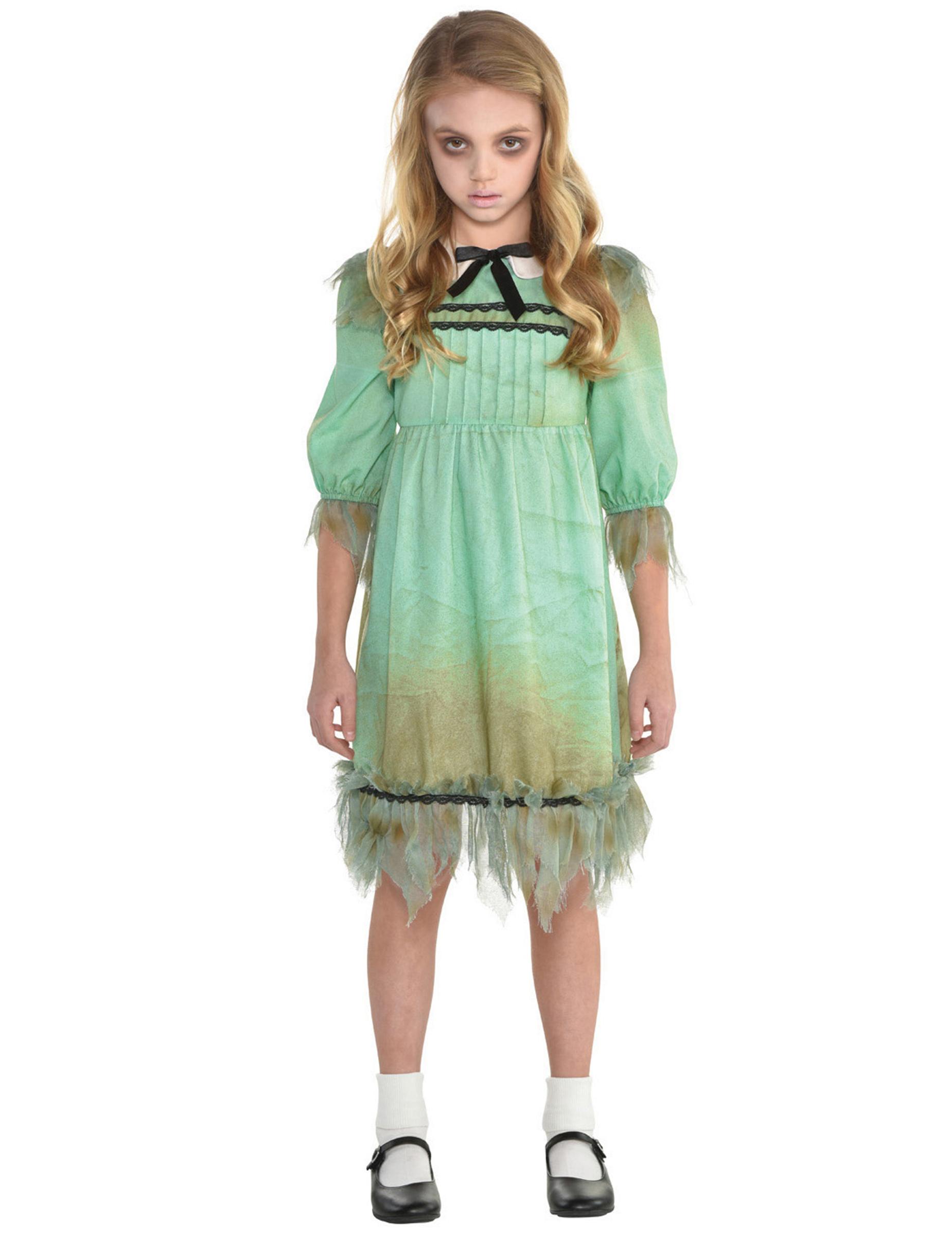 Geistermädchen Halloween-Kostüm für Mädchen grün - 128/140 (8-10 Jahre) 293025