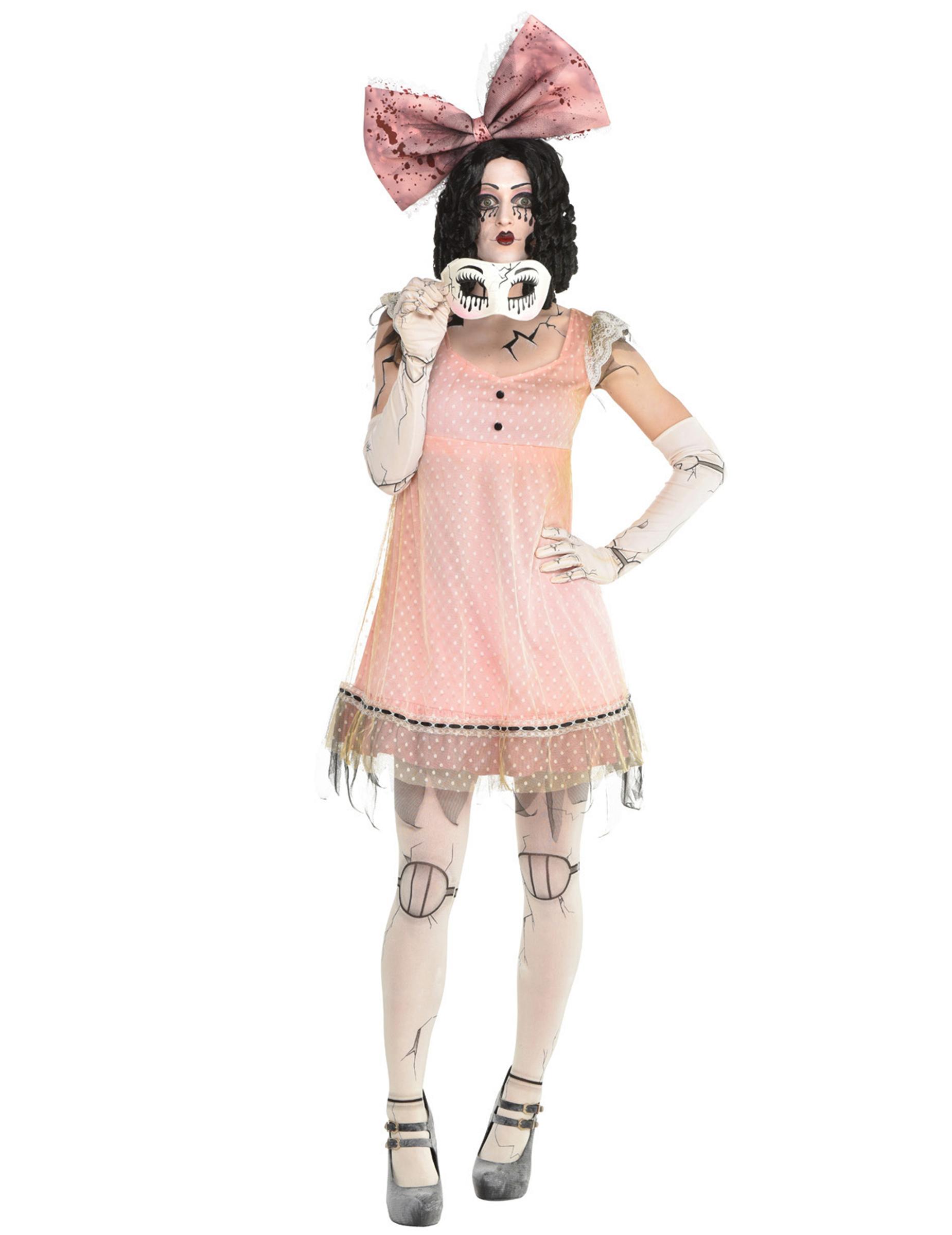Gruseliges Puppen-Kostüm für Damen Halloween rosa-weiss - M 293046