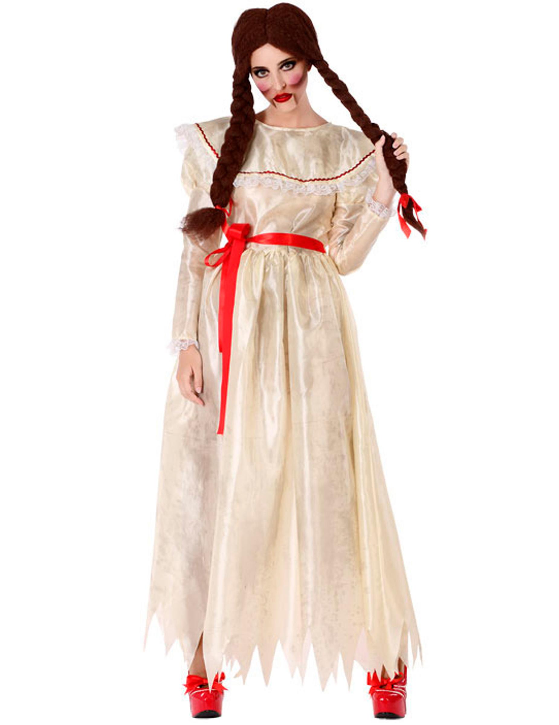 Horrorpuppe-Damenkostüm beige-rot - XS / S 293113